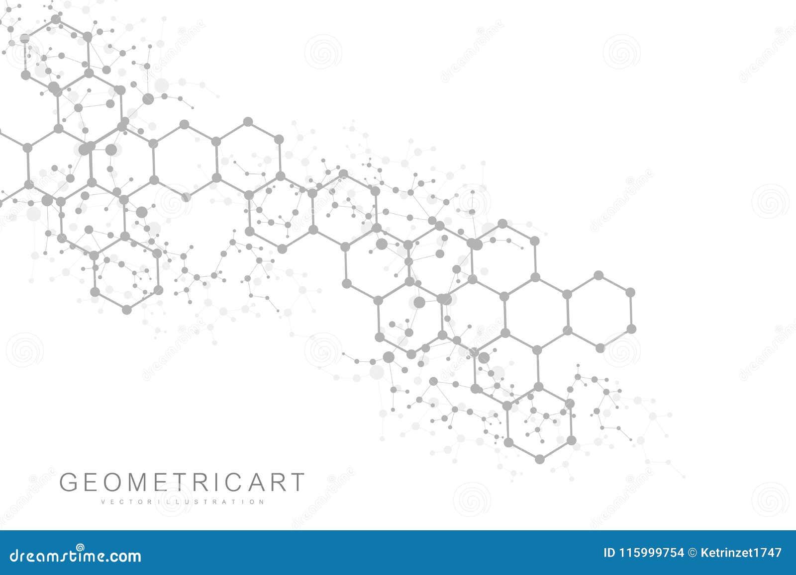 Priorità bassa astratta esagonale Grande visualizzazione di dati Collegamento di rete globale Medico, tecnologia, scienza