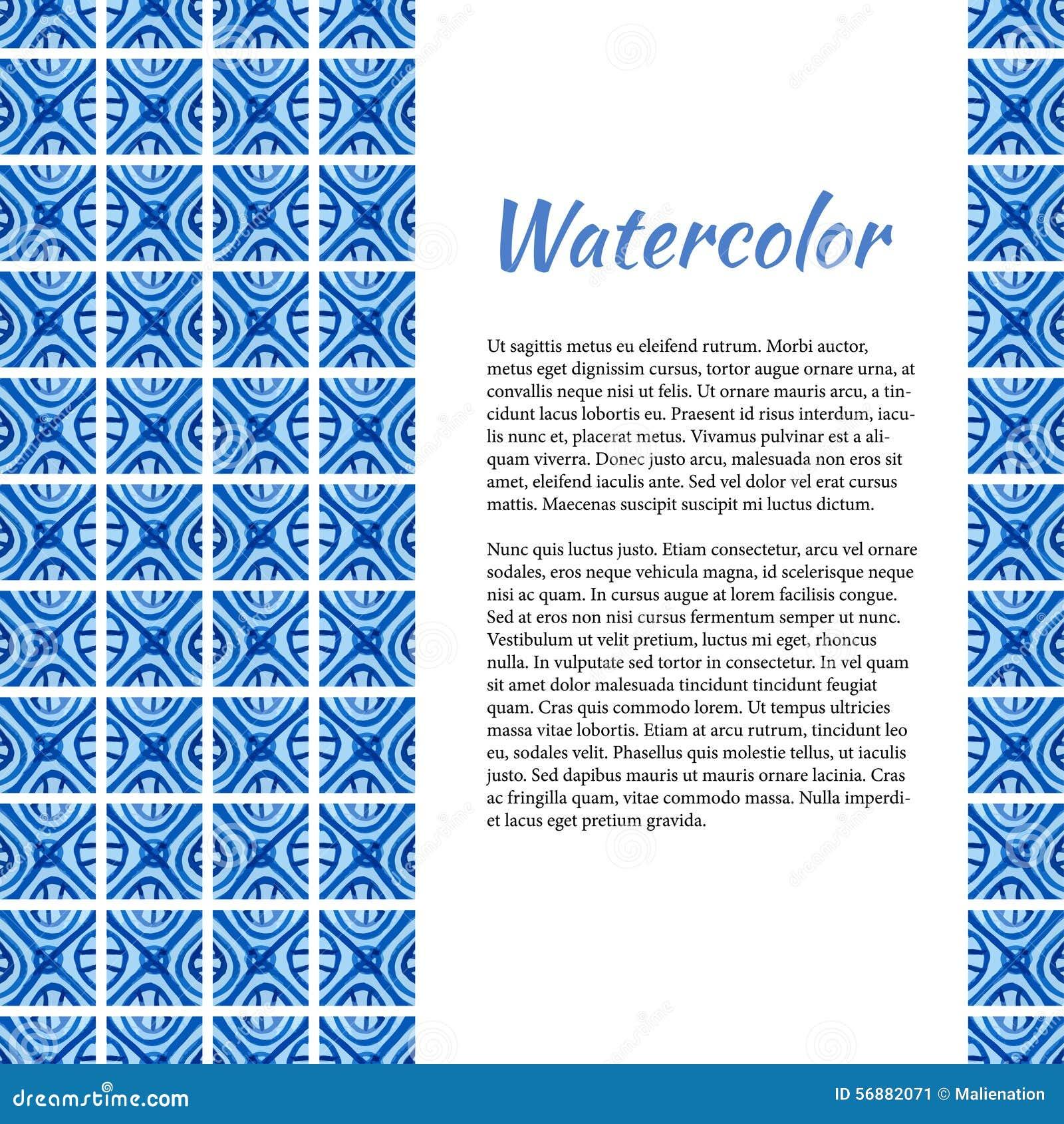 Priorità bassa blu dell acquerello Struttura astratta nello stile ceramico Modello con il posto per il vostro testo