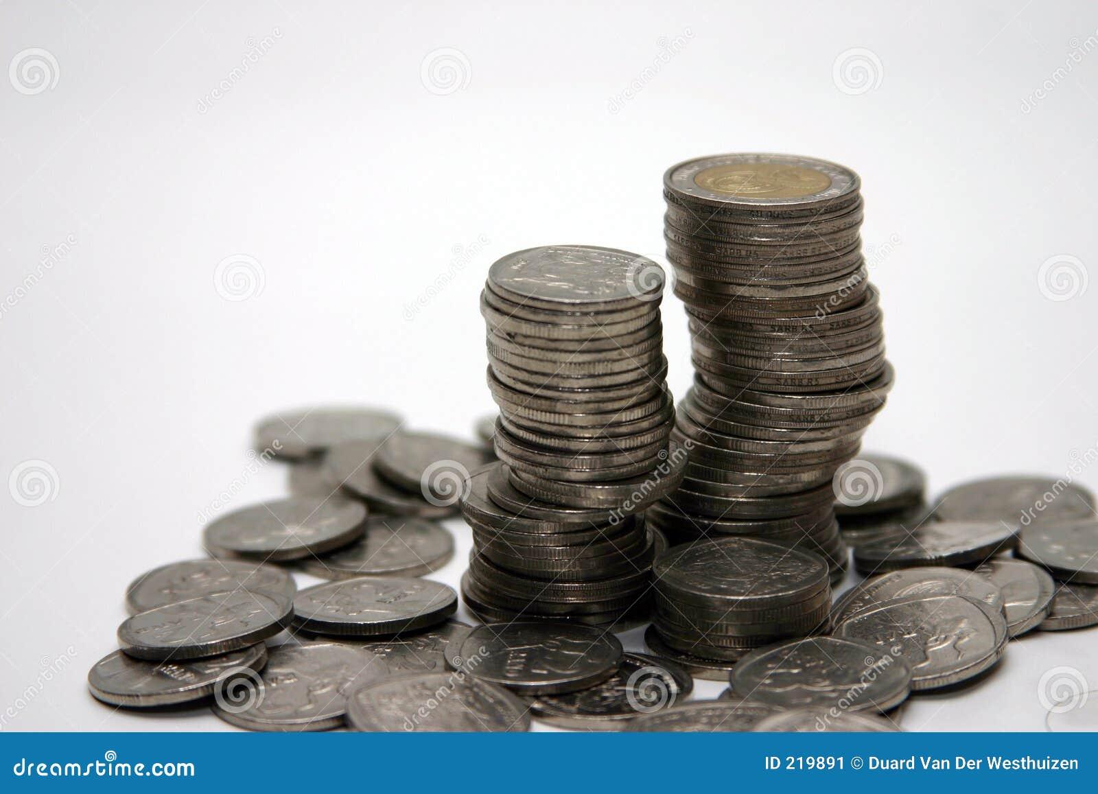 Priorità bassa di bianco della pila della moneta