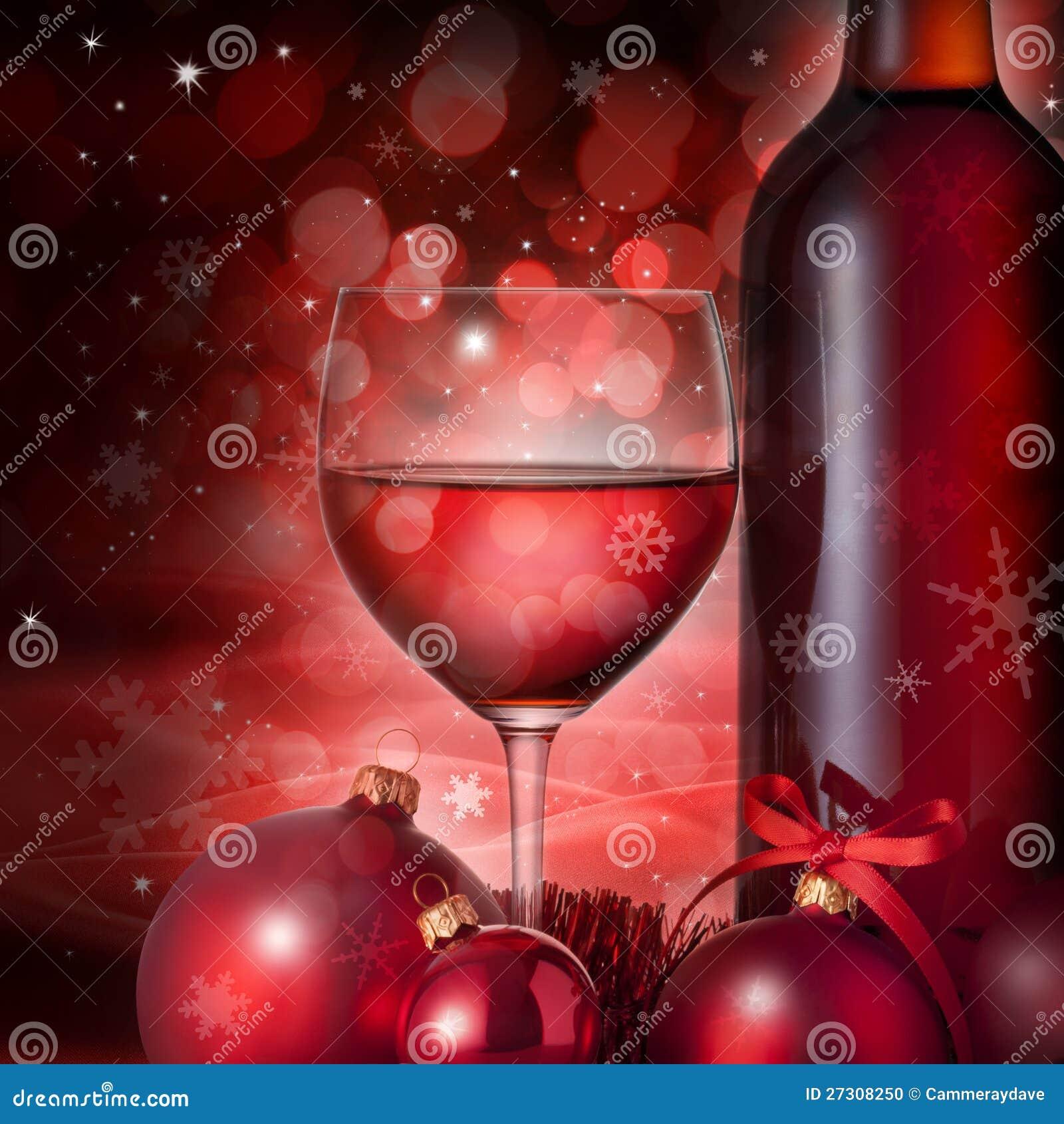 Priorità bassa di vetro del vino rosso di natale