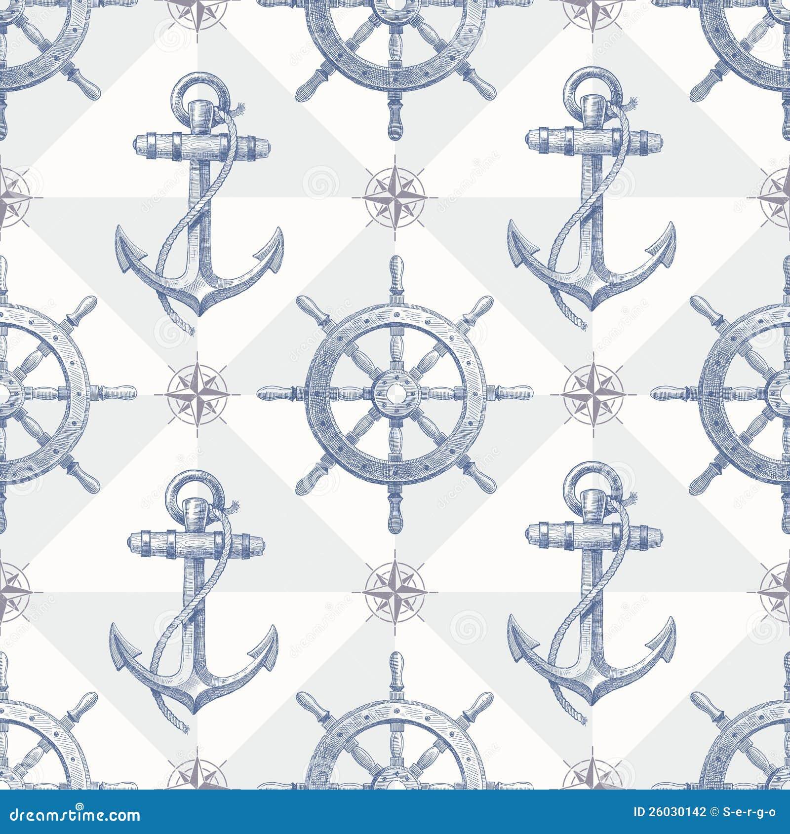Priorità bassa nautica senza giunte con eleme disegnato a mano