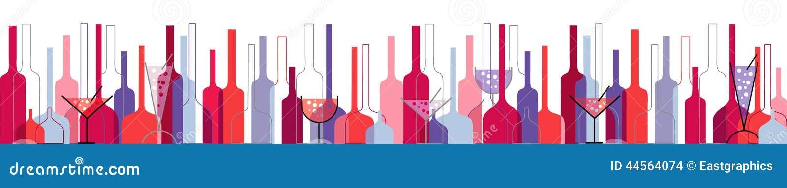 Priorità bassa senza giunte con le bottiglie ed i vetri di vino