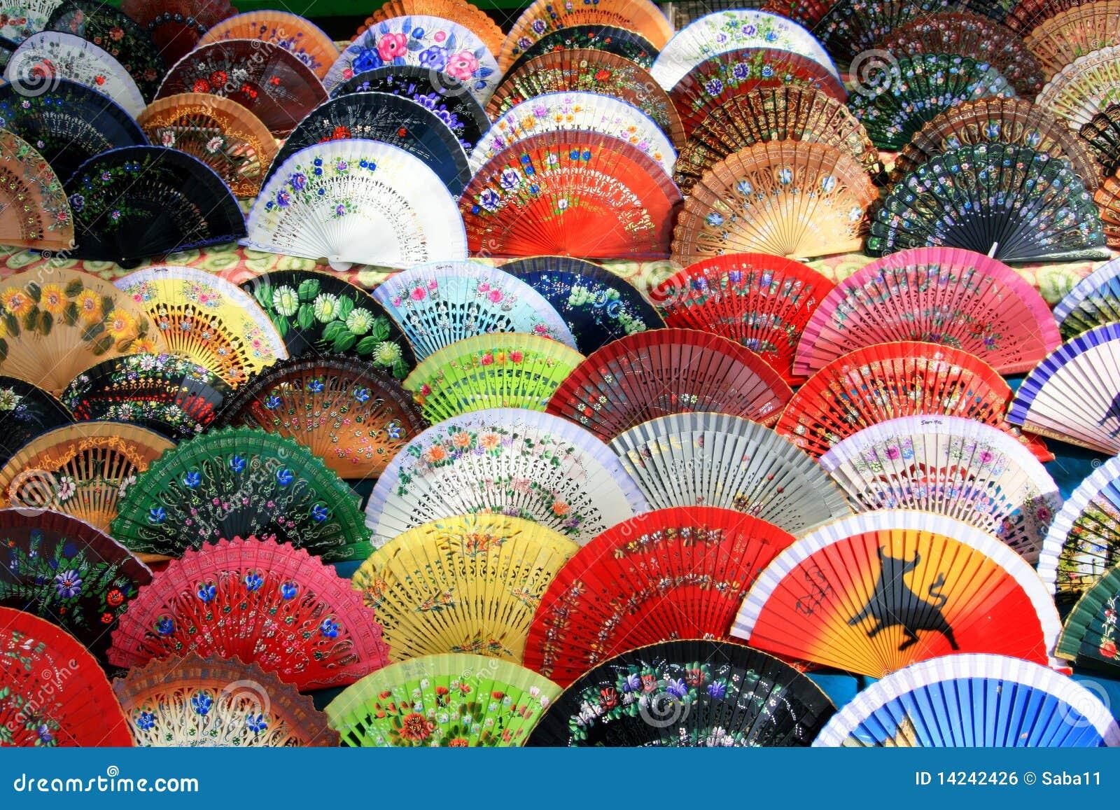 Priorità bassa variopinta spagnola del ventilatore, Andalusia, Spagna