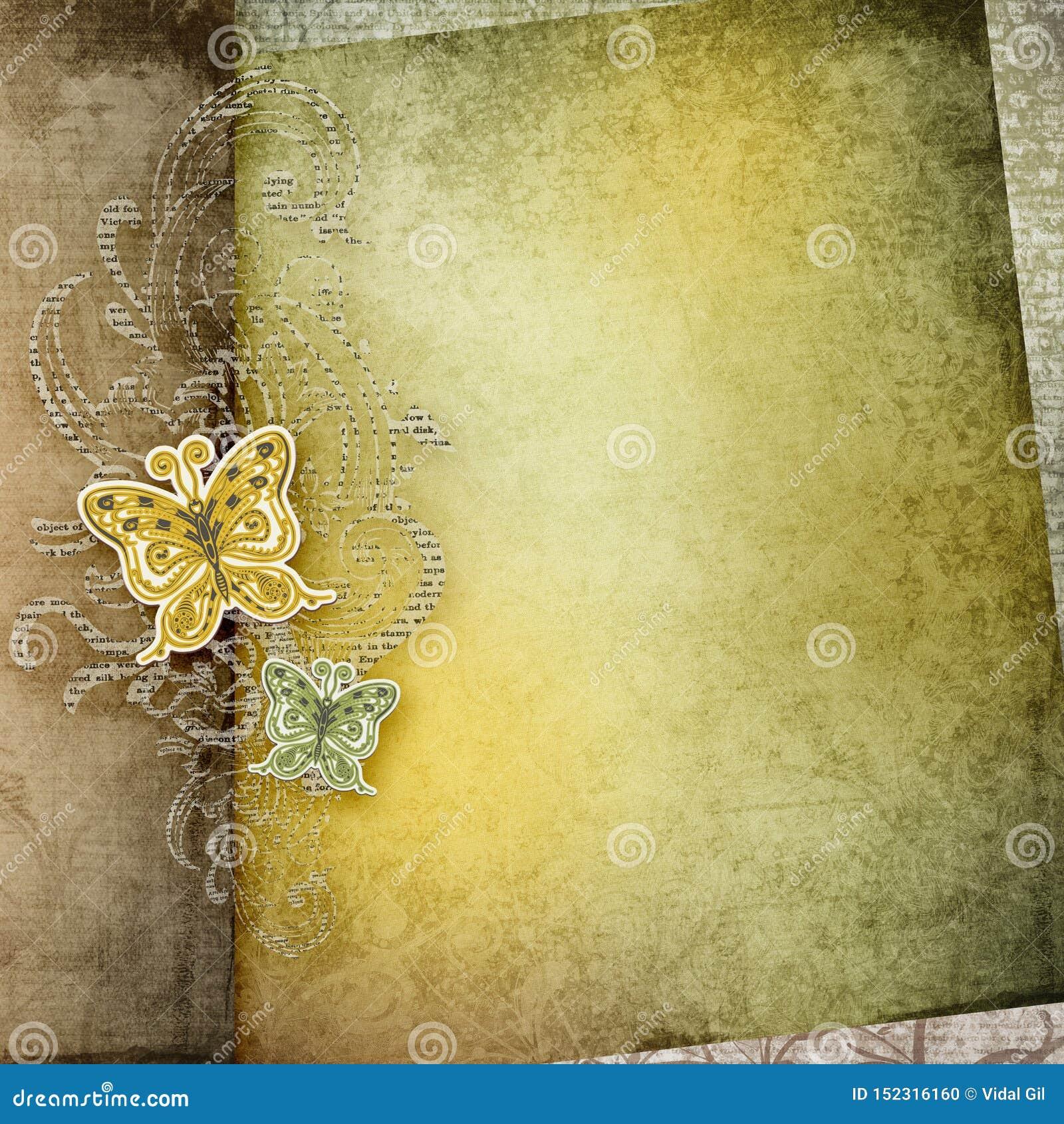 Priorit? bassa di carta dell annata Vecchia progettazione di carta di carta di struttura Farfalla di carta