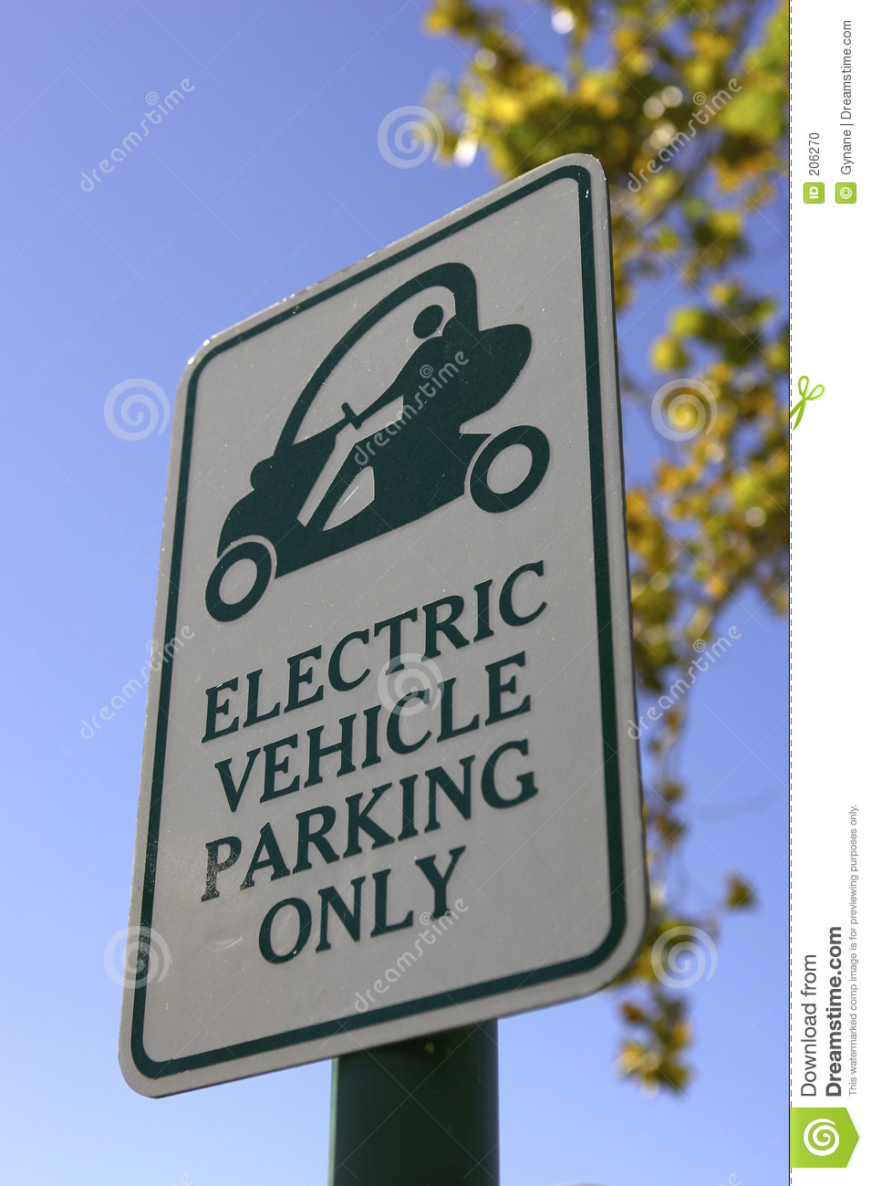 Priority parking sign for electric vehicles only in celebration florida united states usa