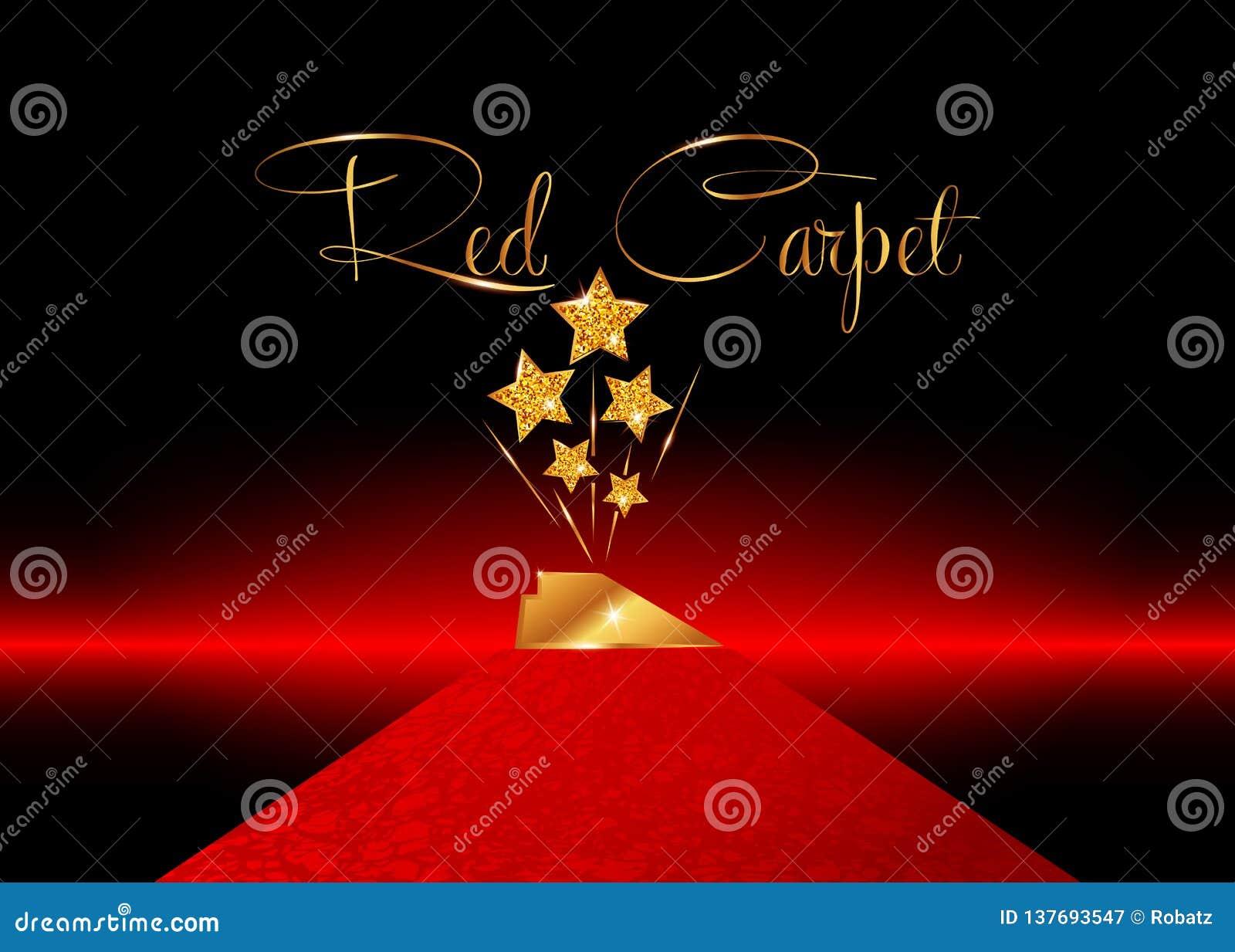 Pris för staty för UTMÄRKELSE för STJÄRNA för HOLLYWOOD filmPARTI som guld- ger ceremoni röd matta och guld- stjärnor prisbegrepp