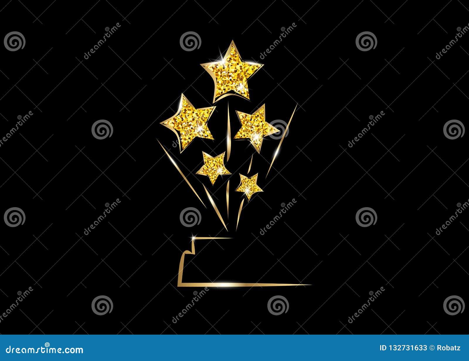 Pris för staty för UTMÄRKELSE för STJÄRNA för HOLLYWOOD Oscars filmPARTI som guld- ger ceremoni Guld- begrepp för stjärnaprissymb
