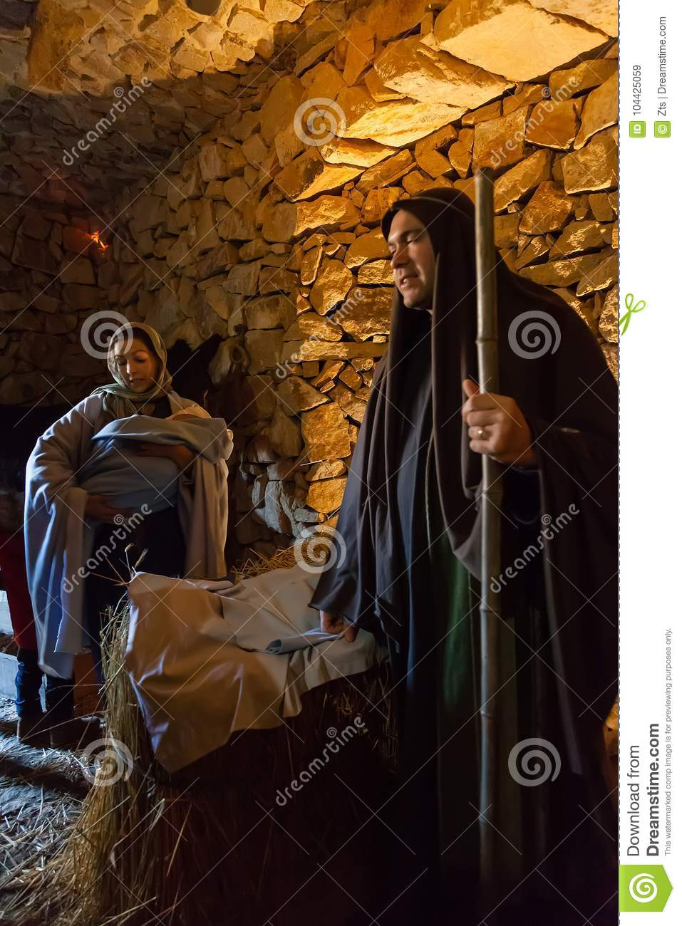 Priscos, Portugal - December 29, 2016: Largest living or live Nativity Scene in Europe. Holy Family, baby Jesus Christ, Mary, Jose