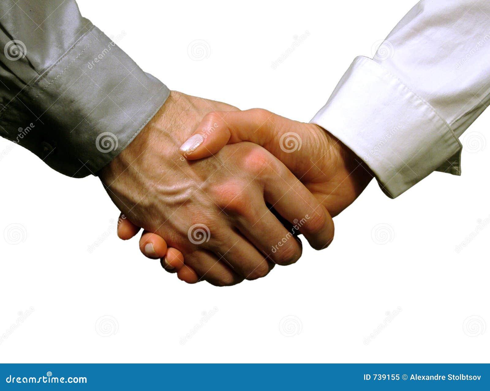 Prise de contact d affaires, femme et homme (fond gris)