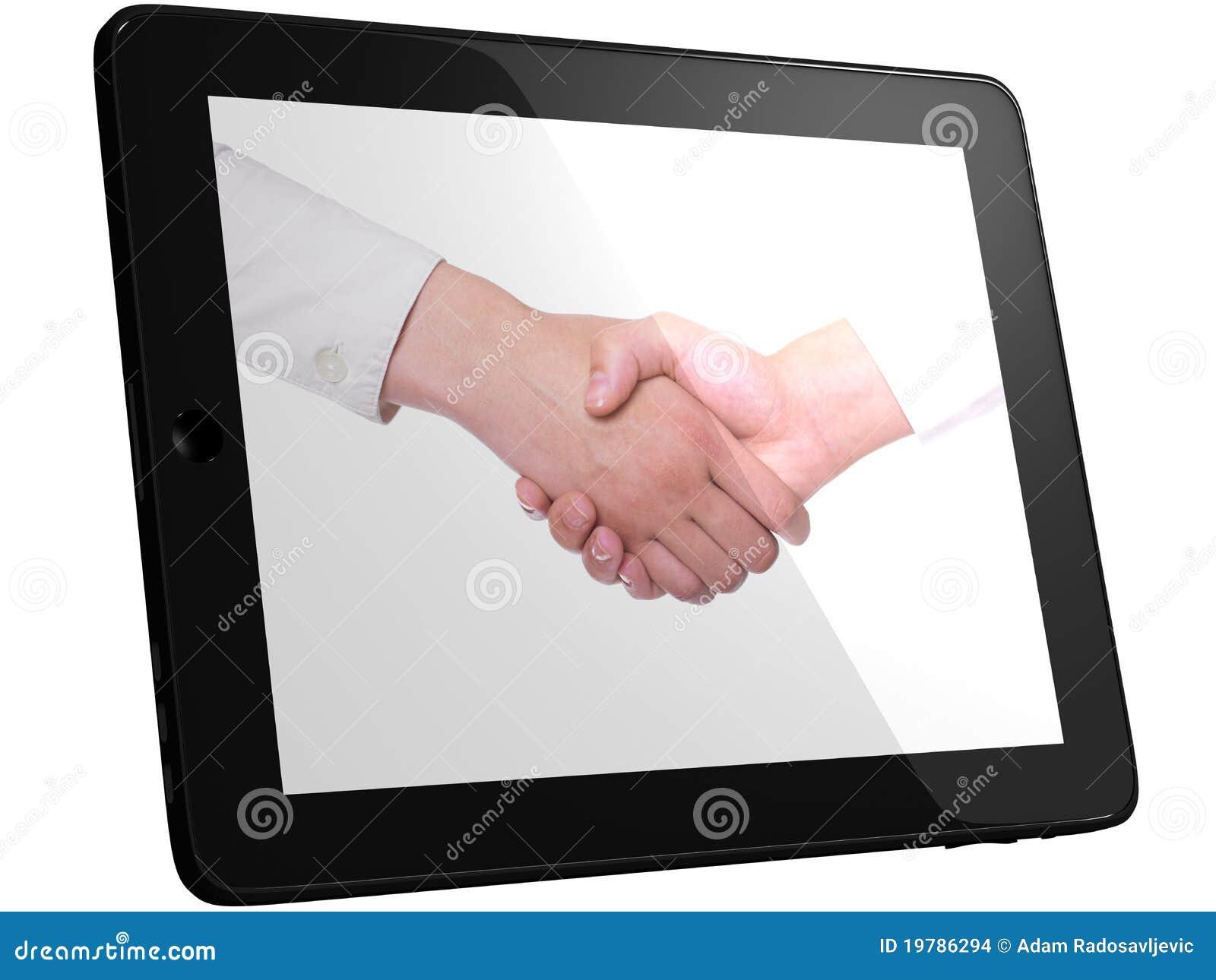 Prise de contact, poignée de main sur l ordinateur de PC de tablette