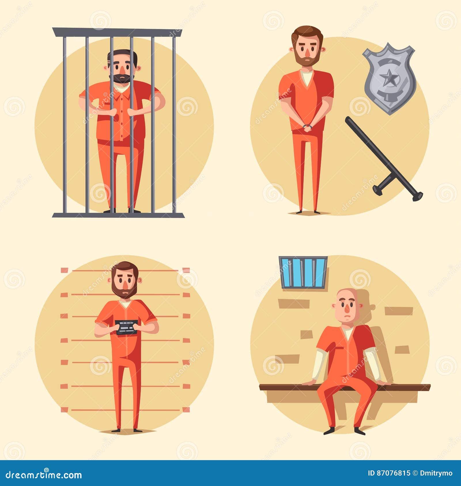 Prisión Criminal en uniforme Ilustración del vector de la historieta