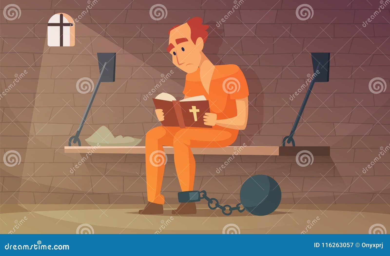 Prisioneiro que senta-se na pilha e que lê a Bíblia