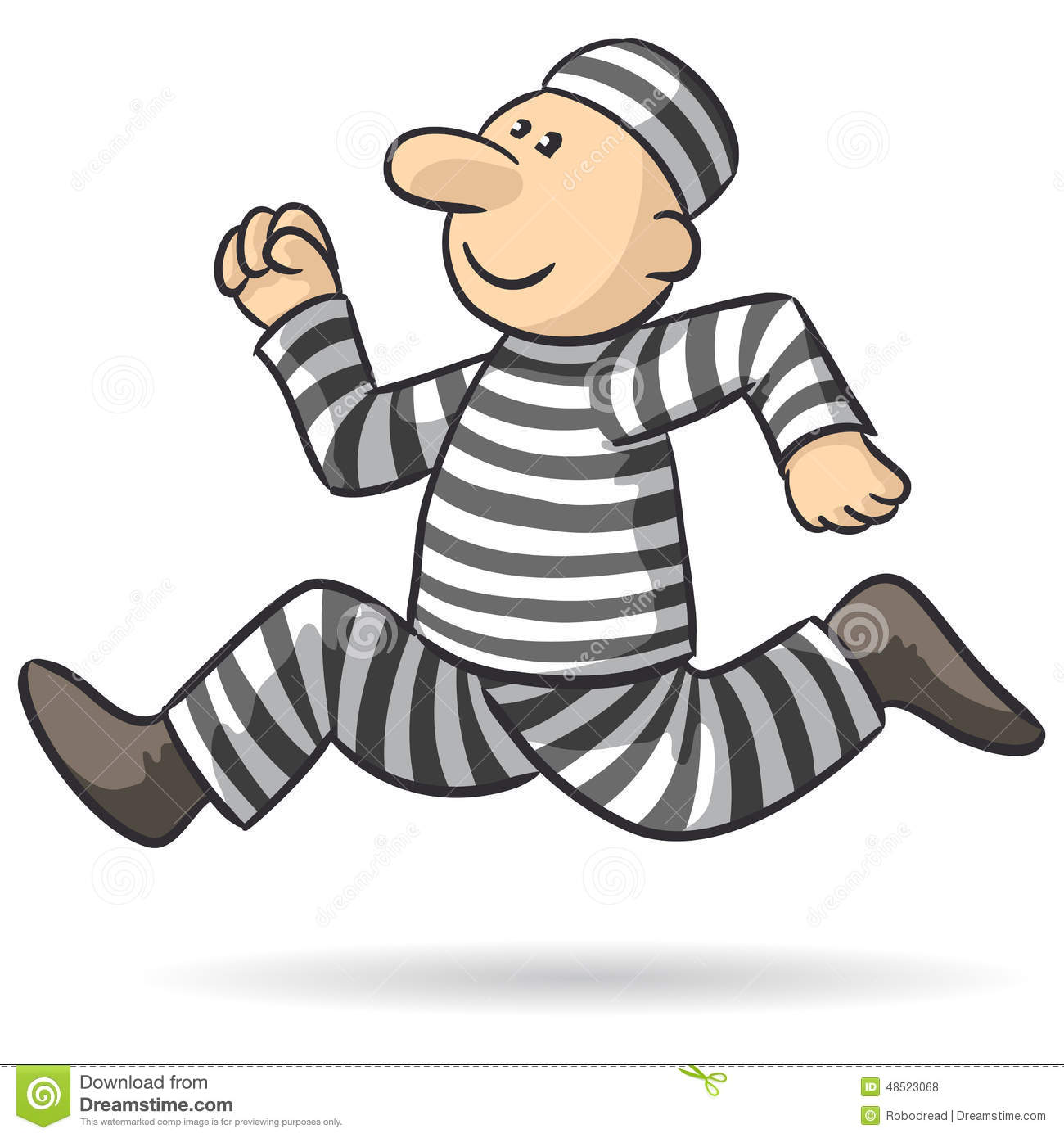 Illustration of an escaped convict who runs fast.