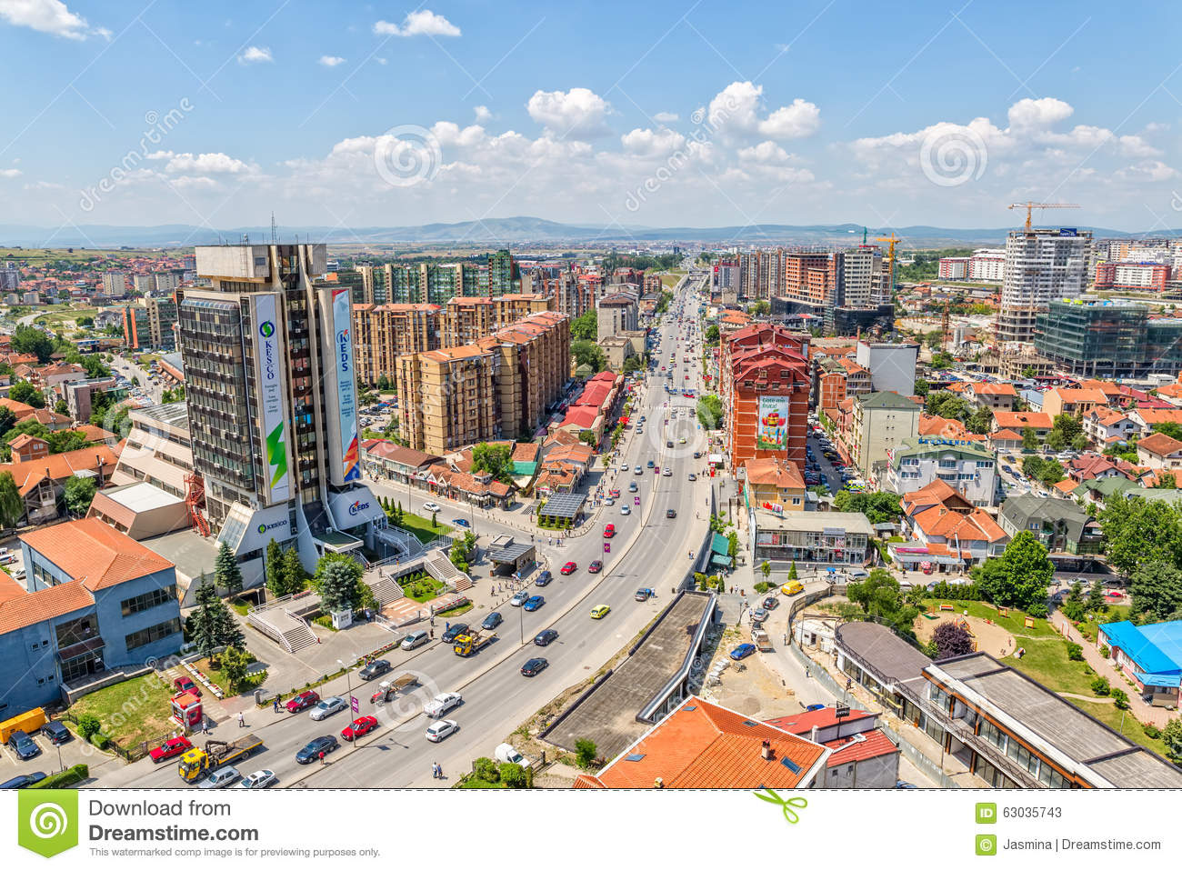 PRISTINA, KOSOVO - JULY 01, 2015: Aerial view of the big residential ...