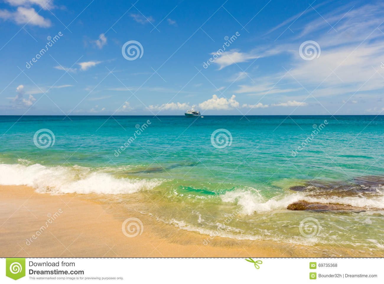 A pristine beach in the windward islands stock photo for The windward