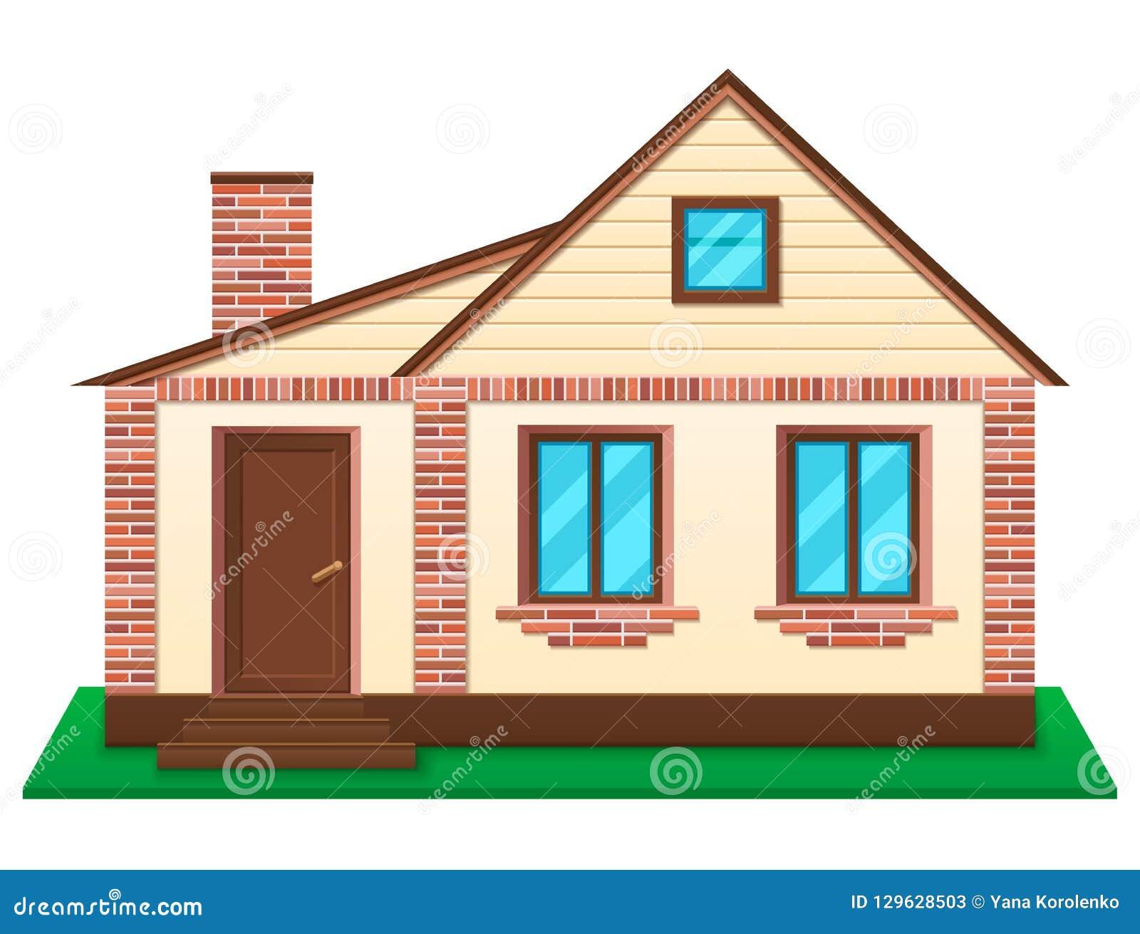 Privé huis bij gazon vectorillustratie