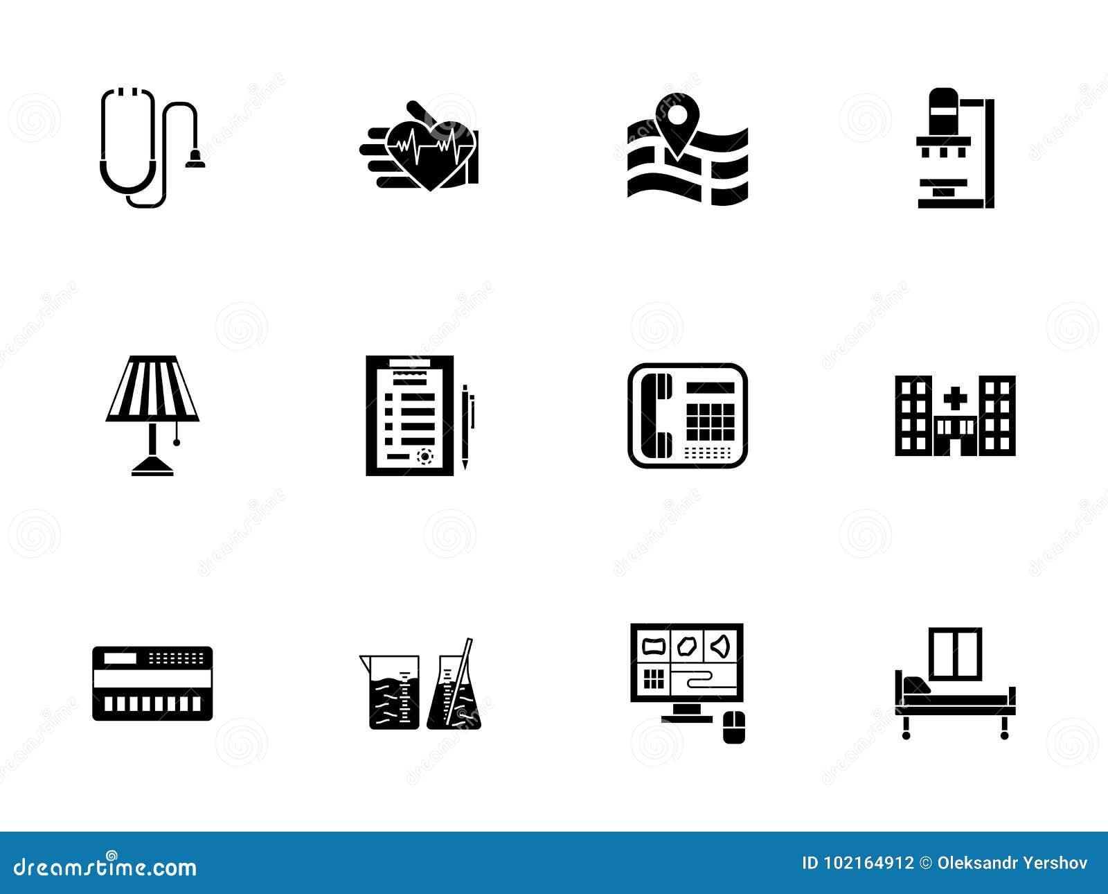 Privé medische geplaatste kliniek glyph pictogrammen