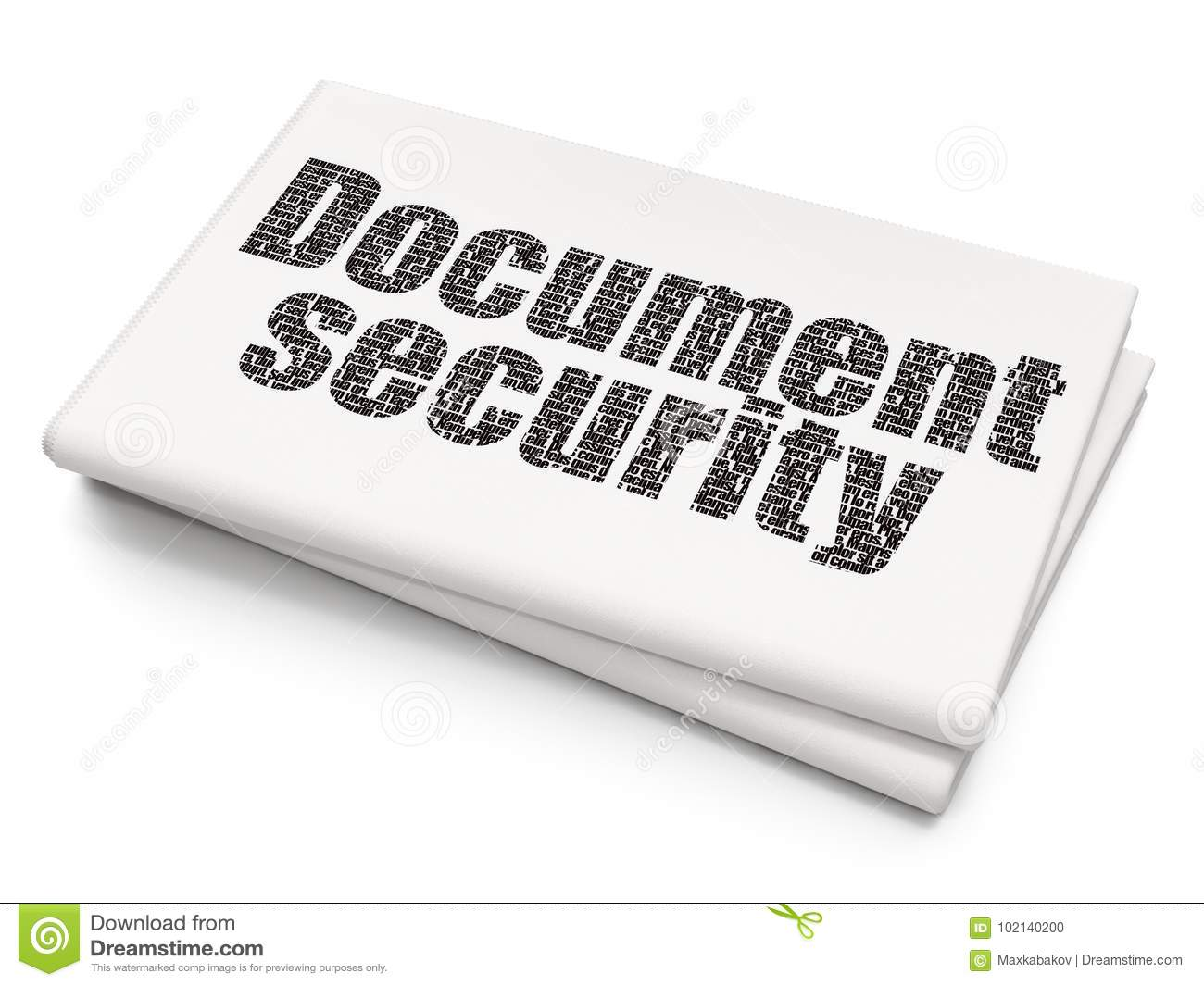 Privacy Concept Document Security On Blank Newspaper Background