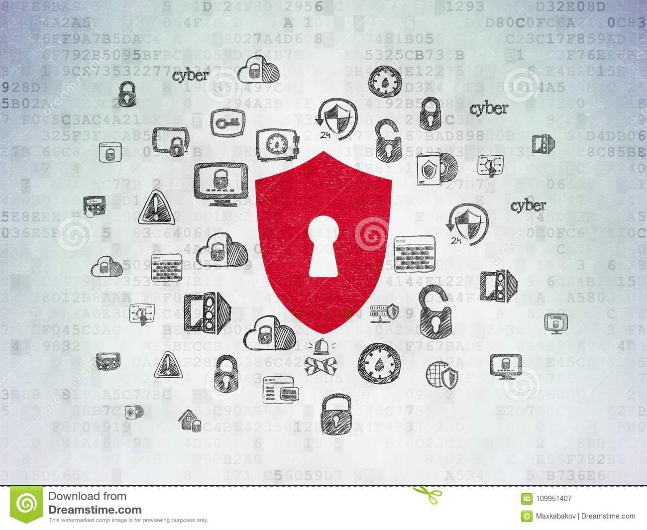 Privacy concept shield with keyhole on digital data paper download comp ccuart Images