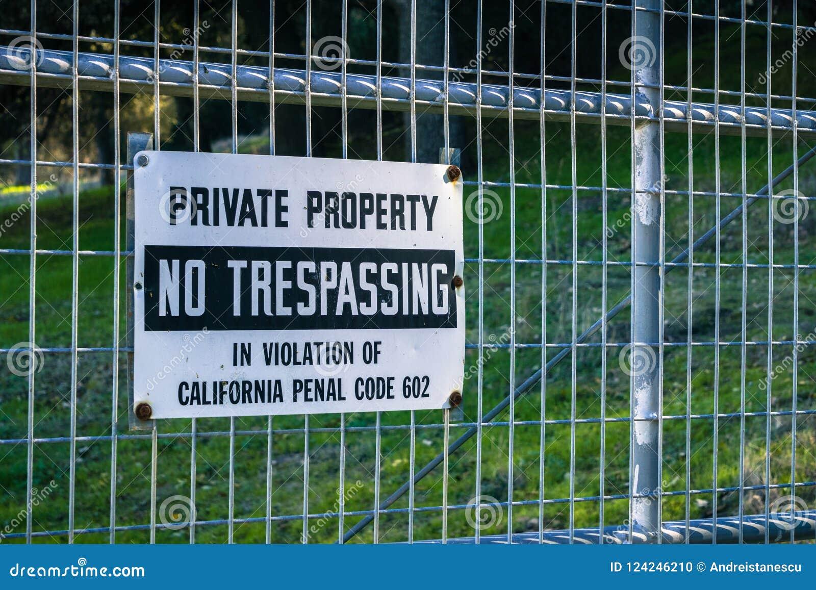 Privat egenskap, inget inkräkta