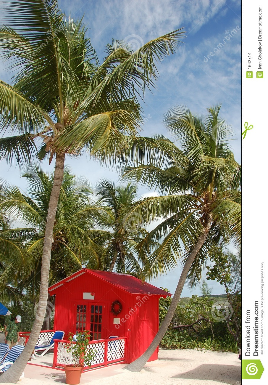 Private beach front bungalow in bright red color