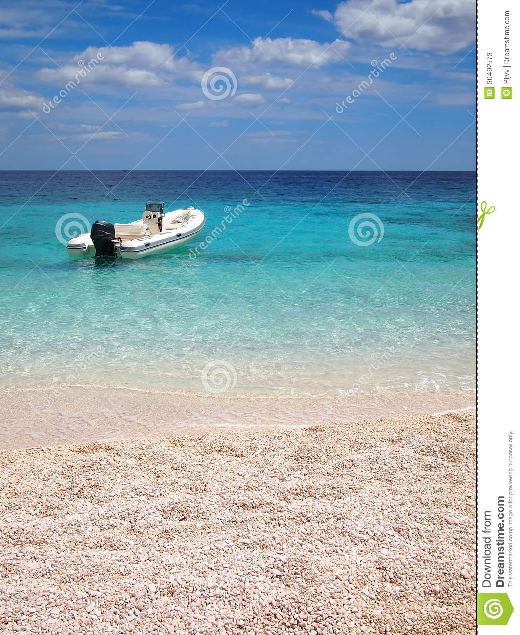 Private Beaches: Private Beach With Speedboat Stock Photos