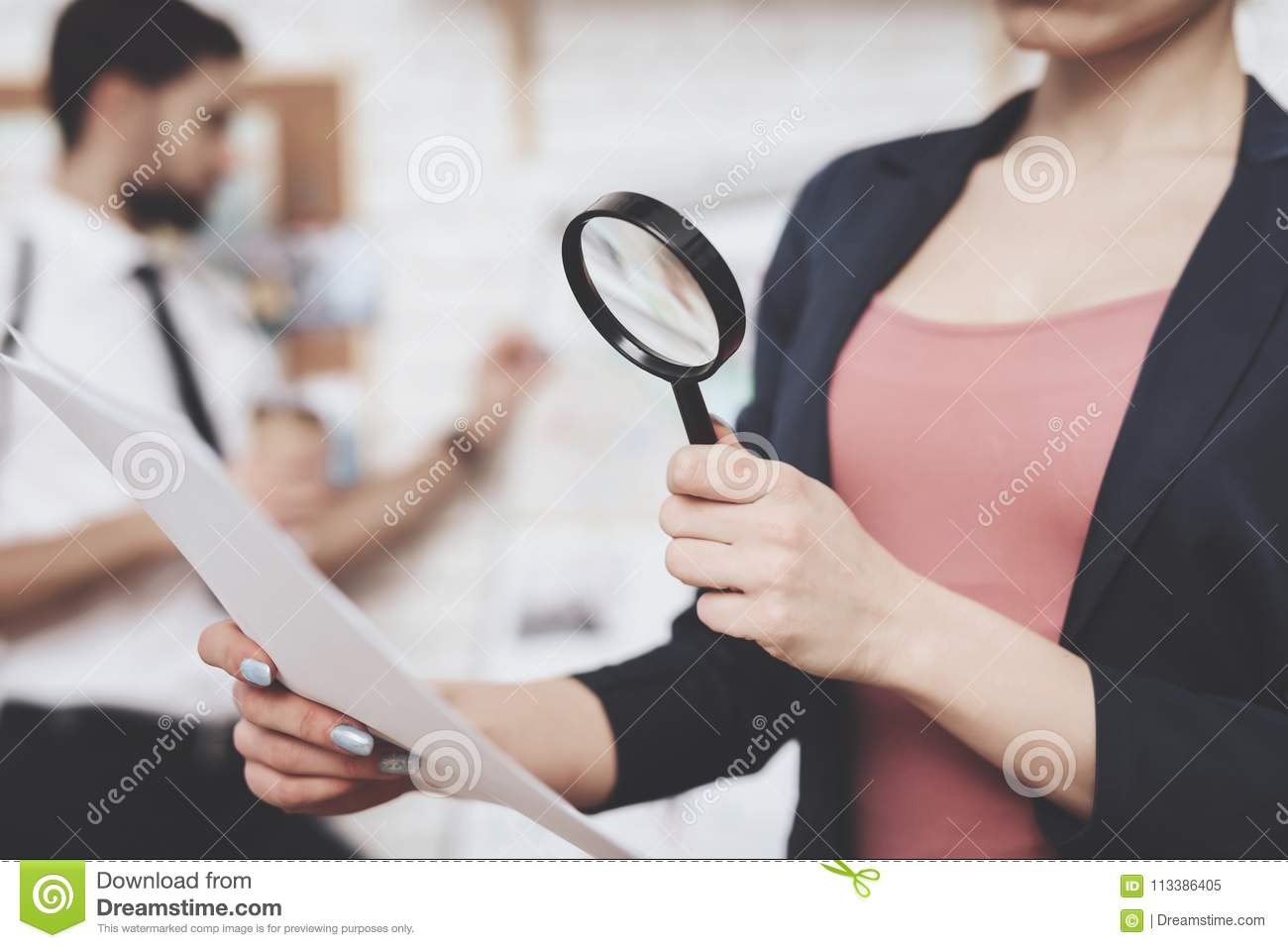 Private detective agency. Woman is posing with paper and magnifying glass, man is looking at clues map.