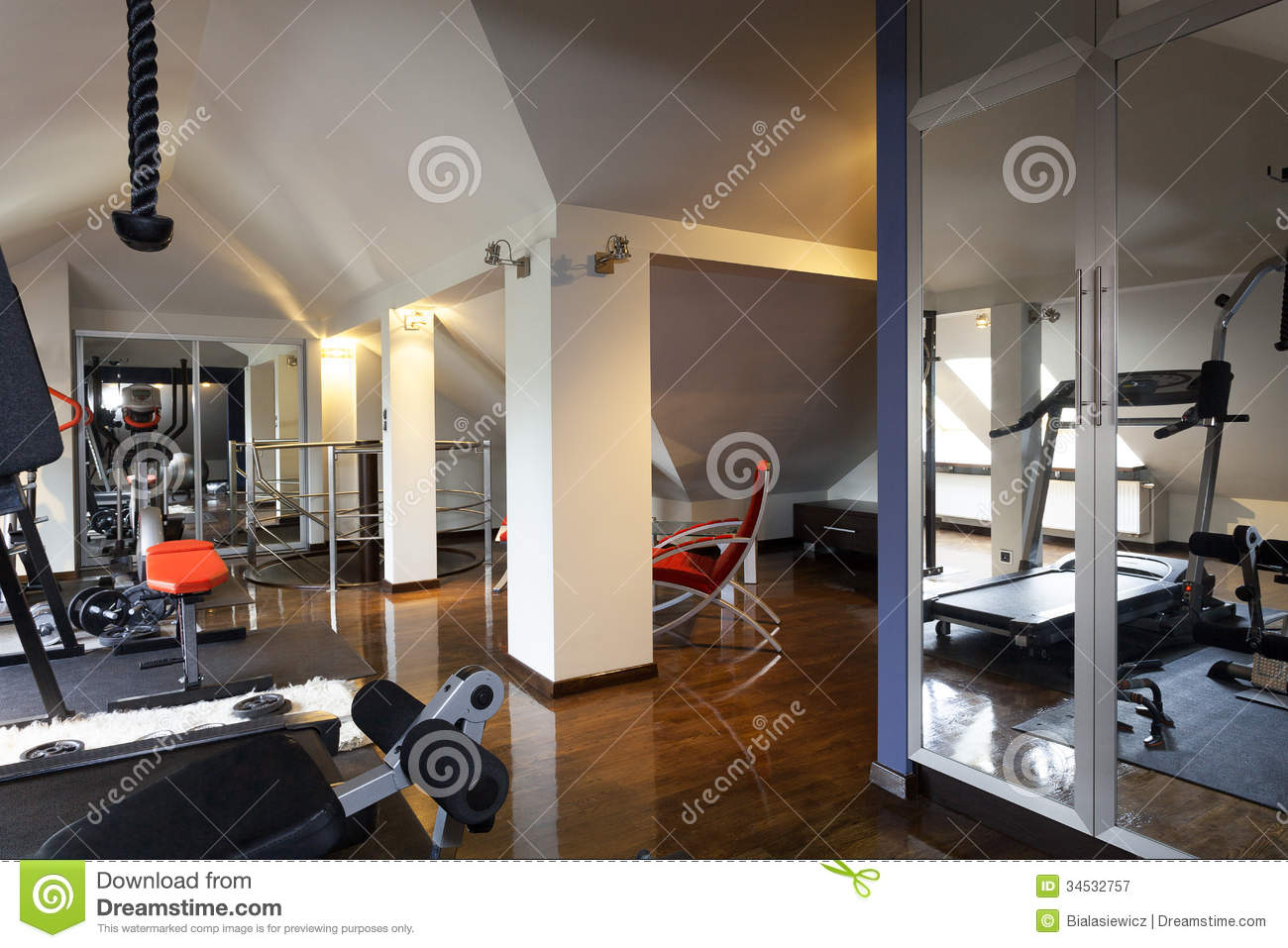 Private gym in a home royalty free stock photography
