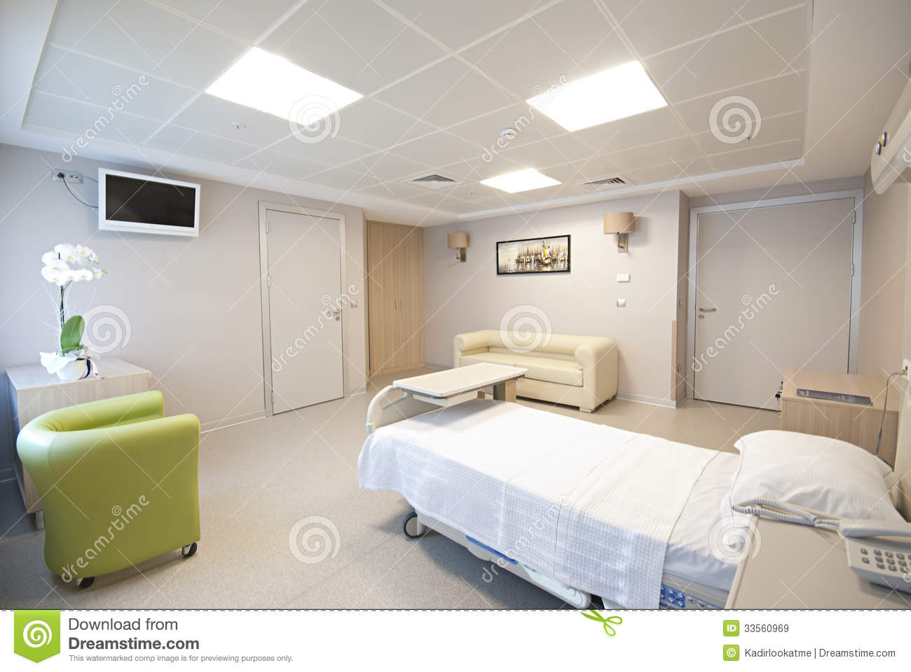 Private hospital room interior stock image image of for Chambre hopital design