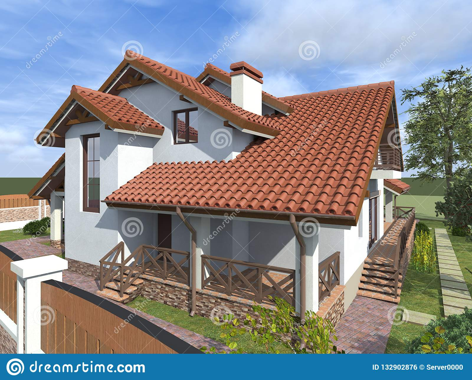 Private House Cottage Tile Roof Stock Photo Image Of Southern Street 132902876
