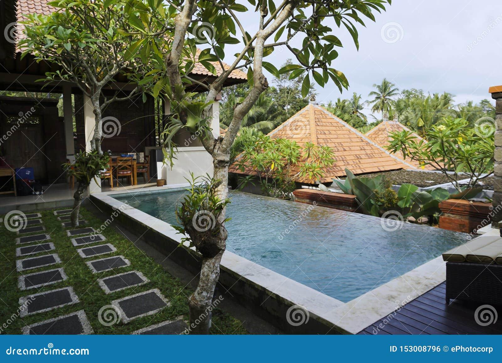 Private Infinity Pool At Villa At Griya Shanti Villas And Spa Ubud Bali Indonesia Stock Photo Image Of Colorful Pool 153008796