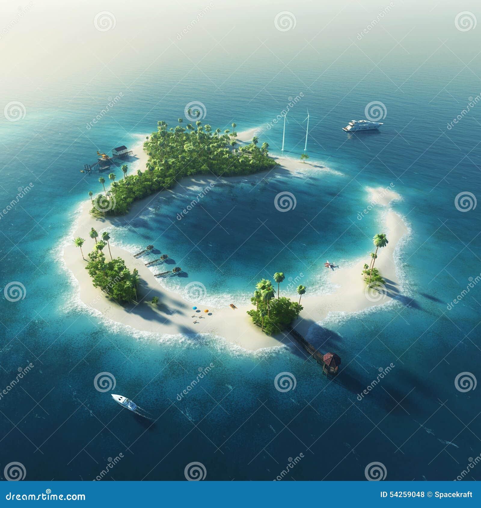 Private Island Beaches: Private Island. Paradise Summer Tropical Island Stock