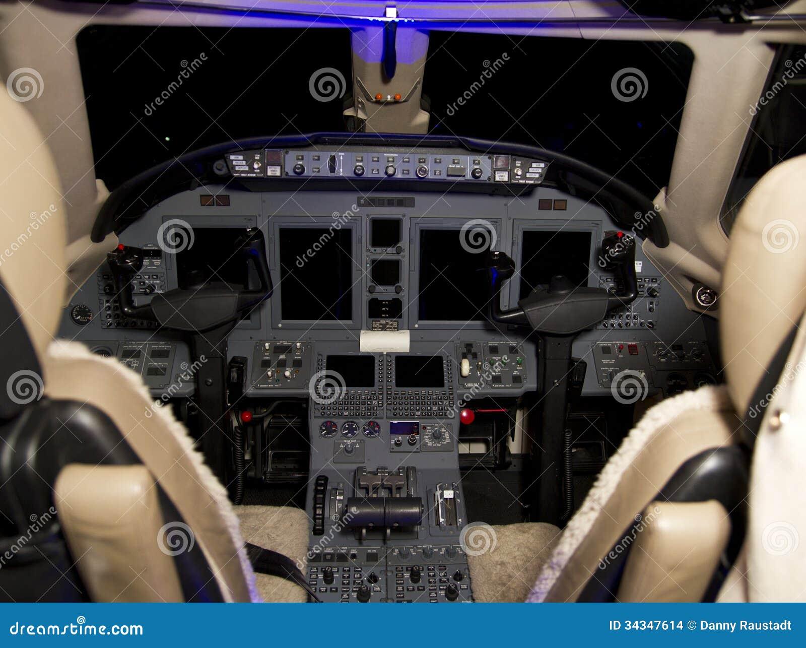 Private Jet Aircraft Cockpit