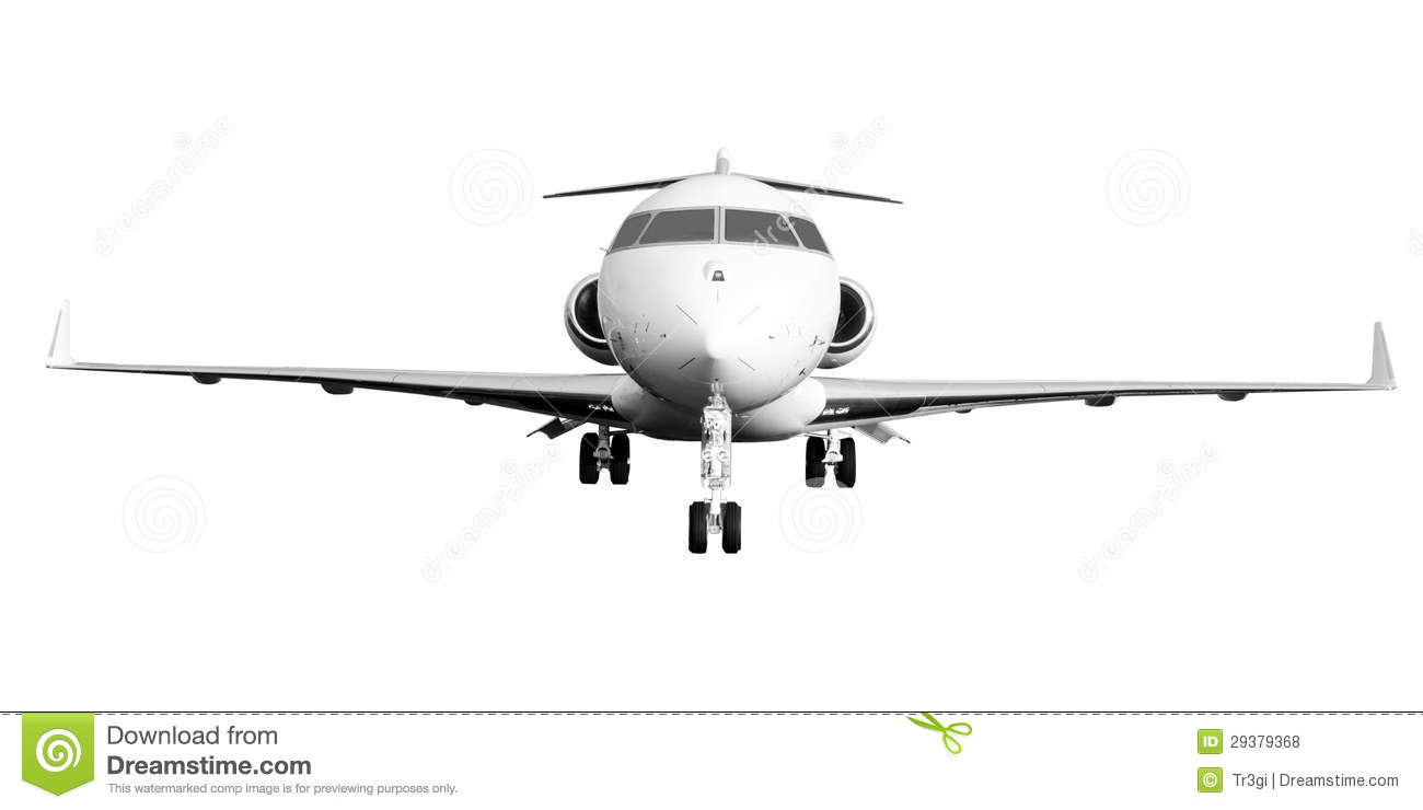 private jet plane isolated on white stock photo image