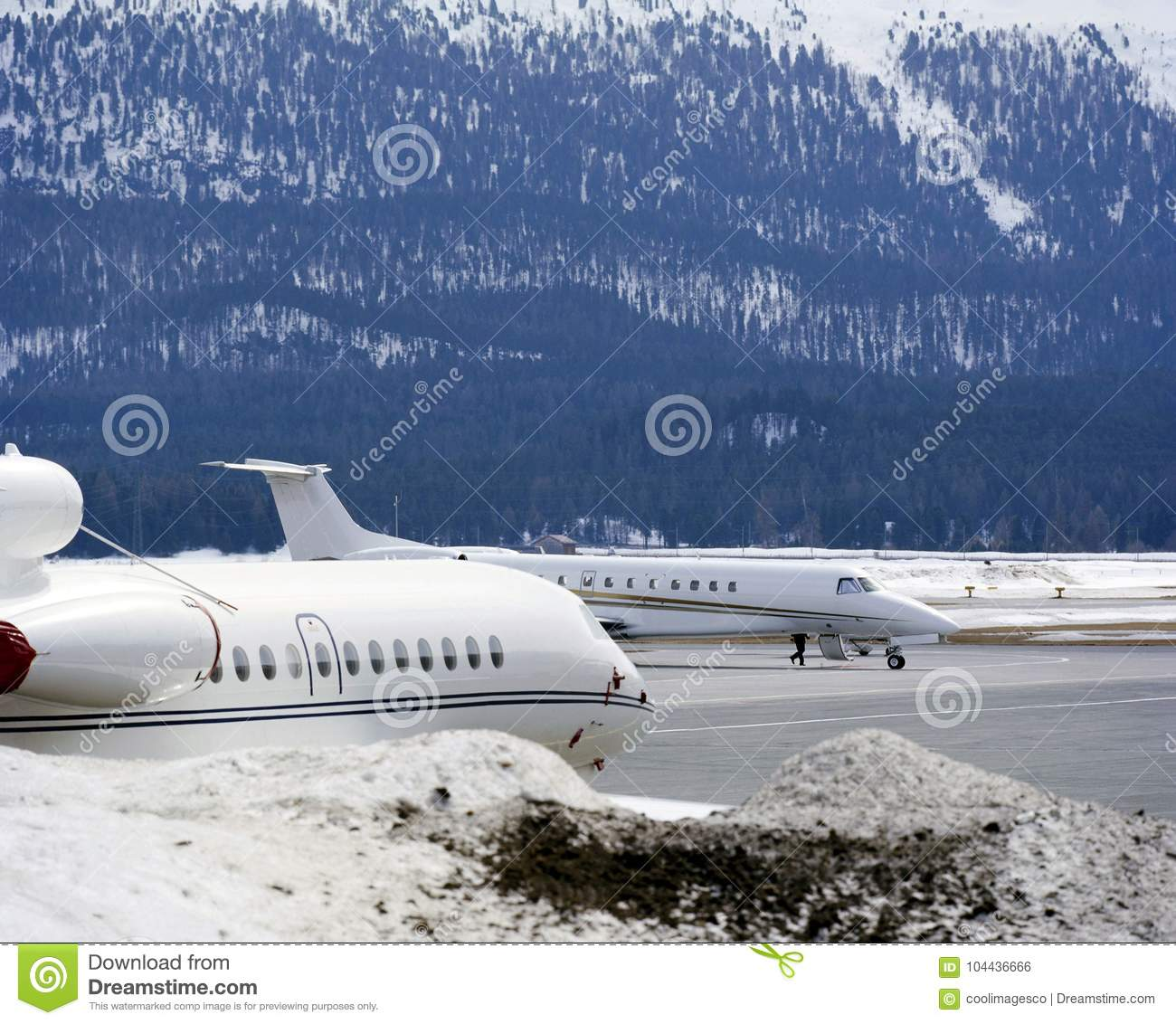 Private jets, planes and in the snow covered landscape of Switzerland