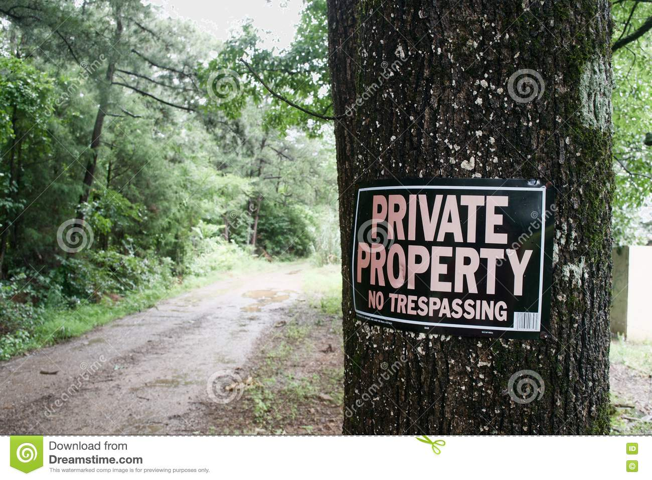 Private Property Sign On Tree Stock Photo - Image of