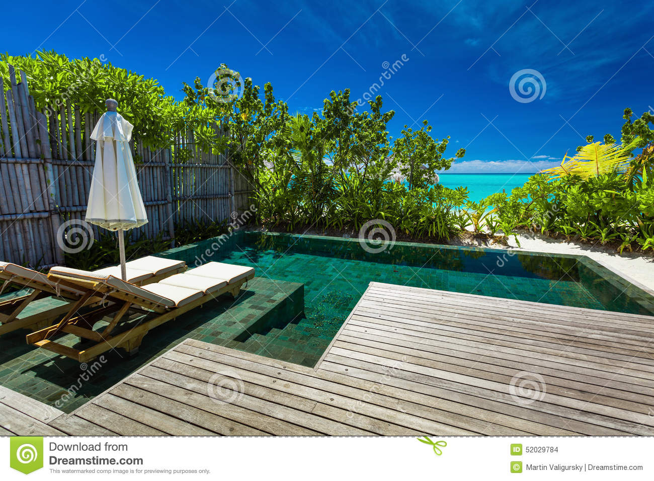 Private Swimming Pool On Beach With Amazing View Of The Ocean Stock Photo Image 52029784