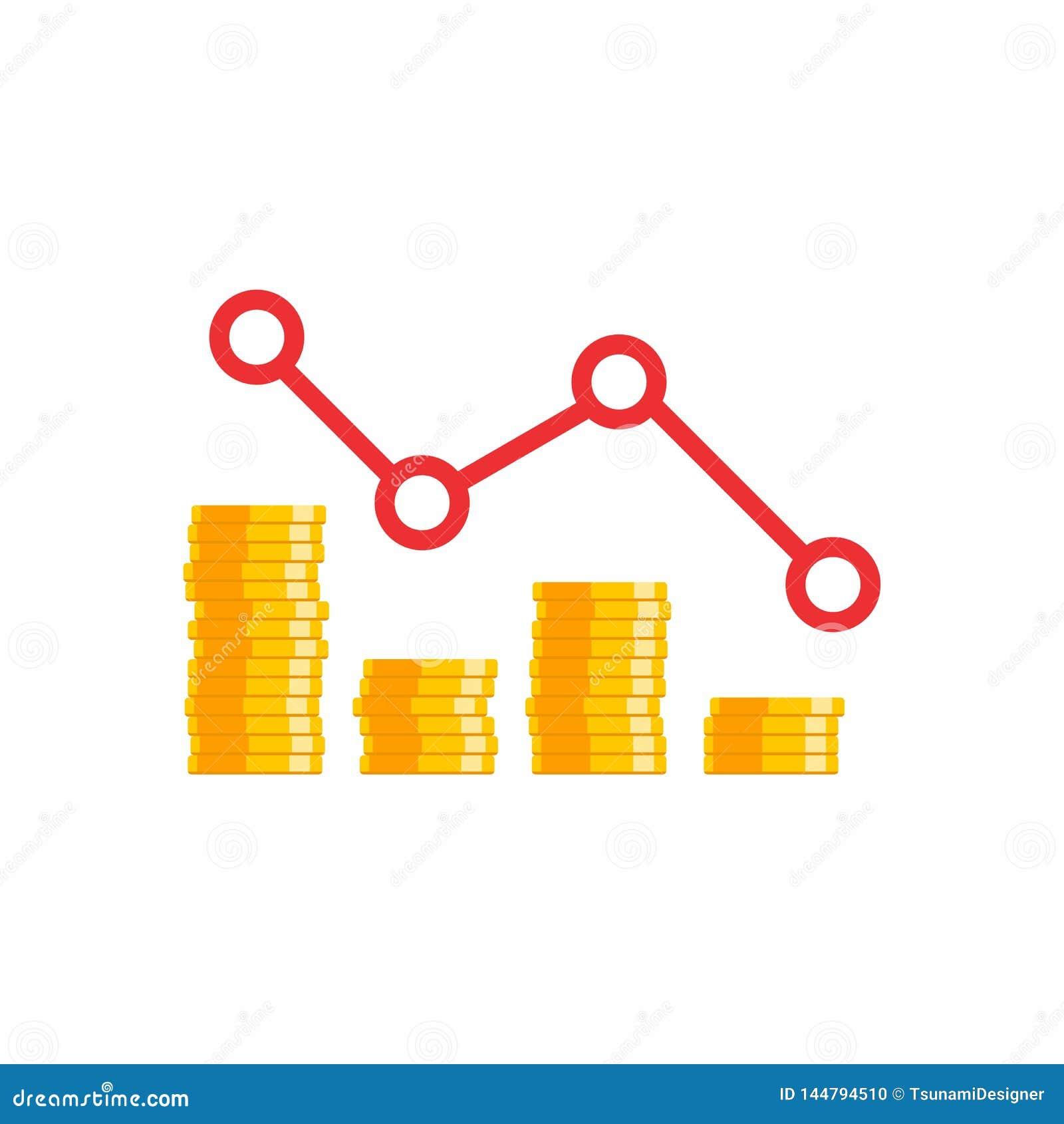 Prix de pièce de monnaie en bas de graphique, beaucoup de pièces de monnaie, pile d argent, aucun fond, vecteur, icône plate,