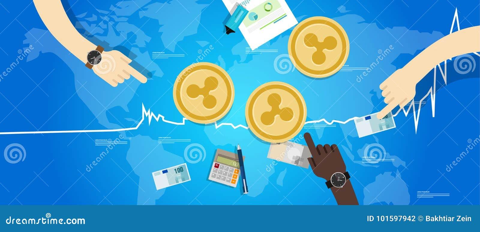 Prix virtuel numérique de valeur d échange d augmentation de pièce de monnaie d ondulation vers le haut de bleu de diagramme