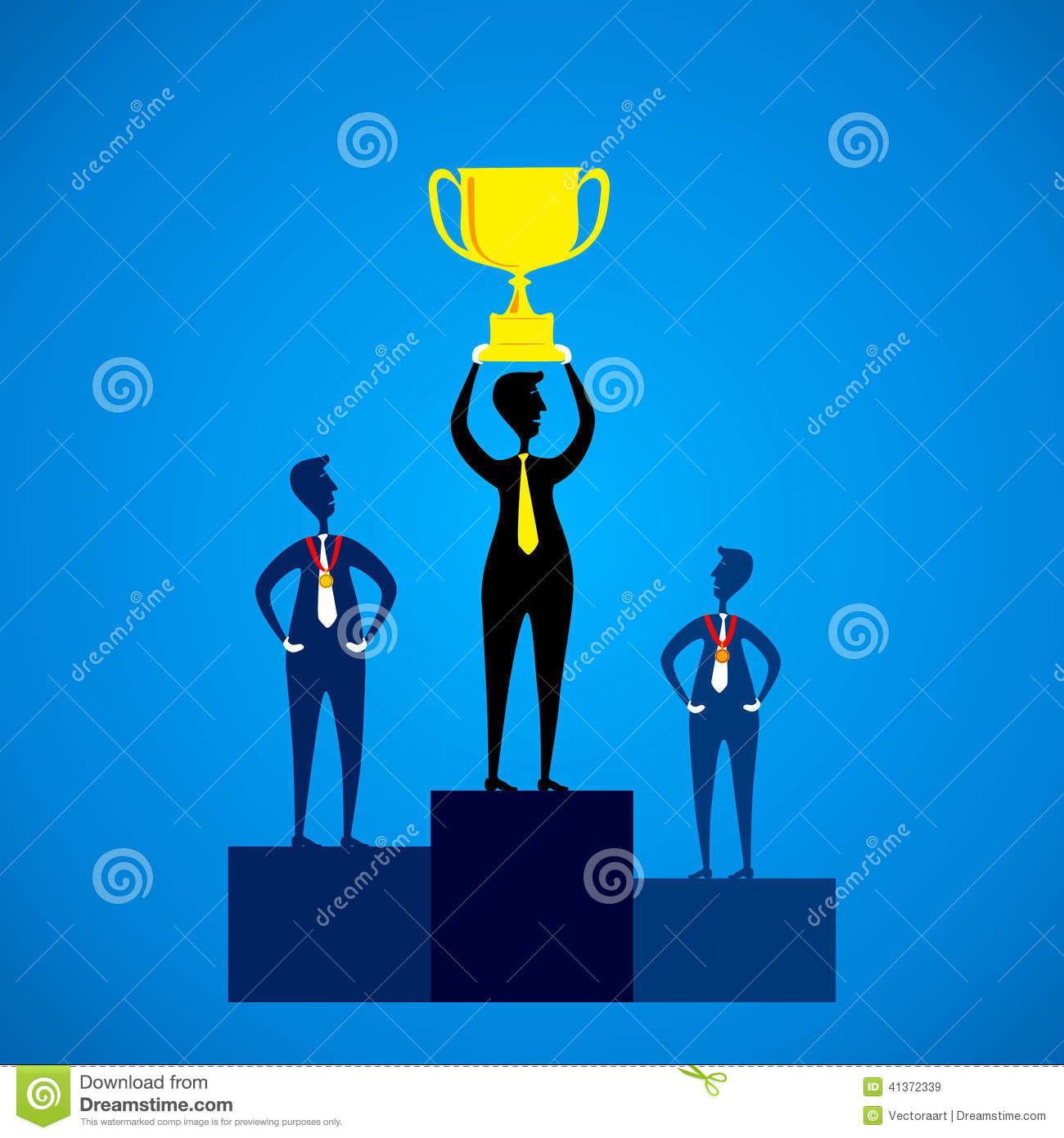 First winner lift the winning trophy other with medal concept vector.
