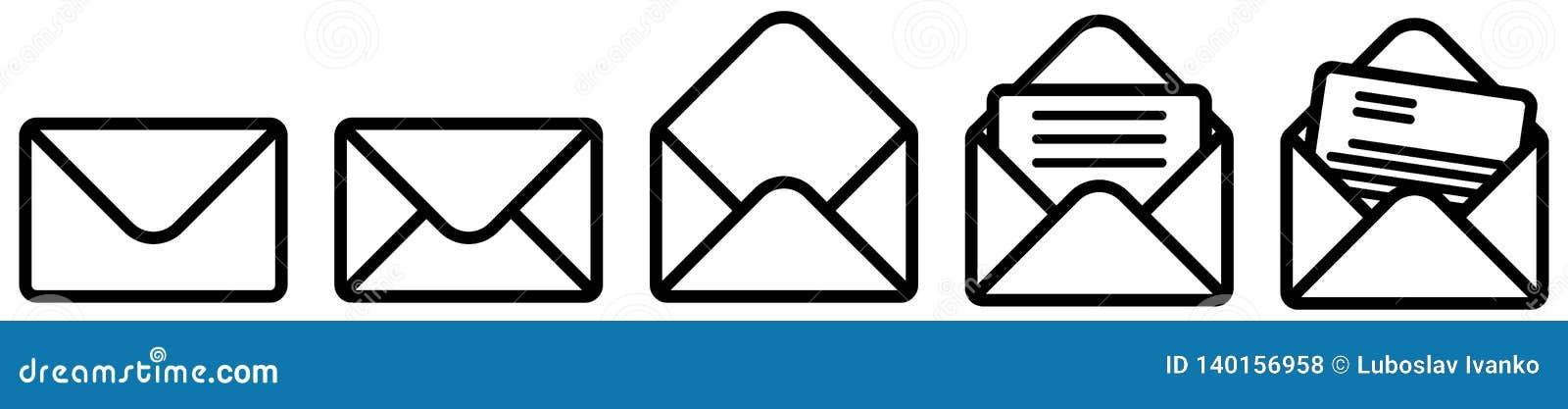 Prości koperty znak, zamknięty, rozpieczętowany i z dokumentu wersją Może używać jako poczty, emaila ikona/