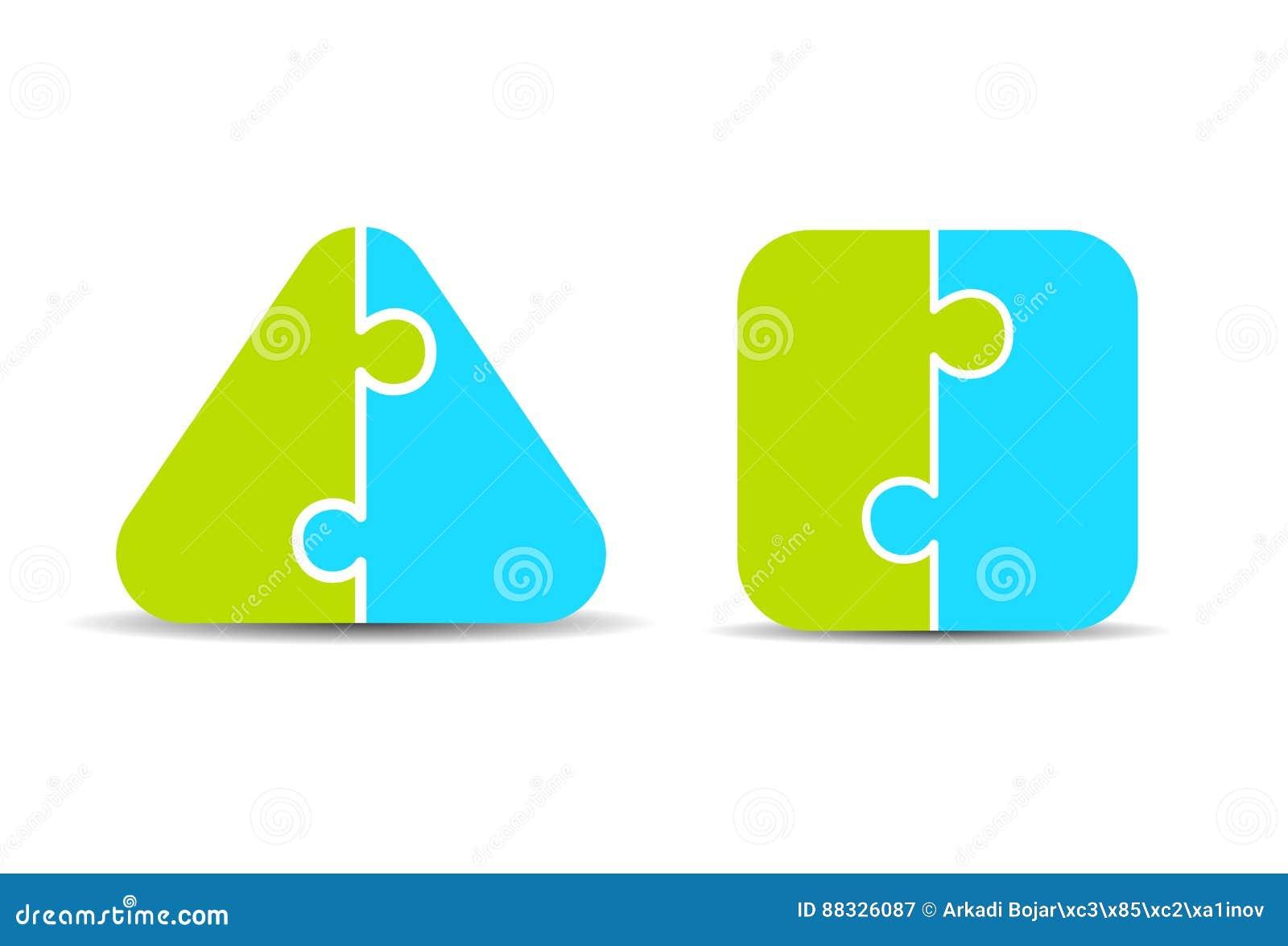 Pro - e - contro diagramma di puzzle di due parti
