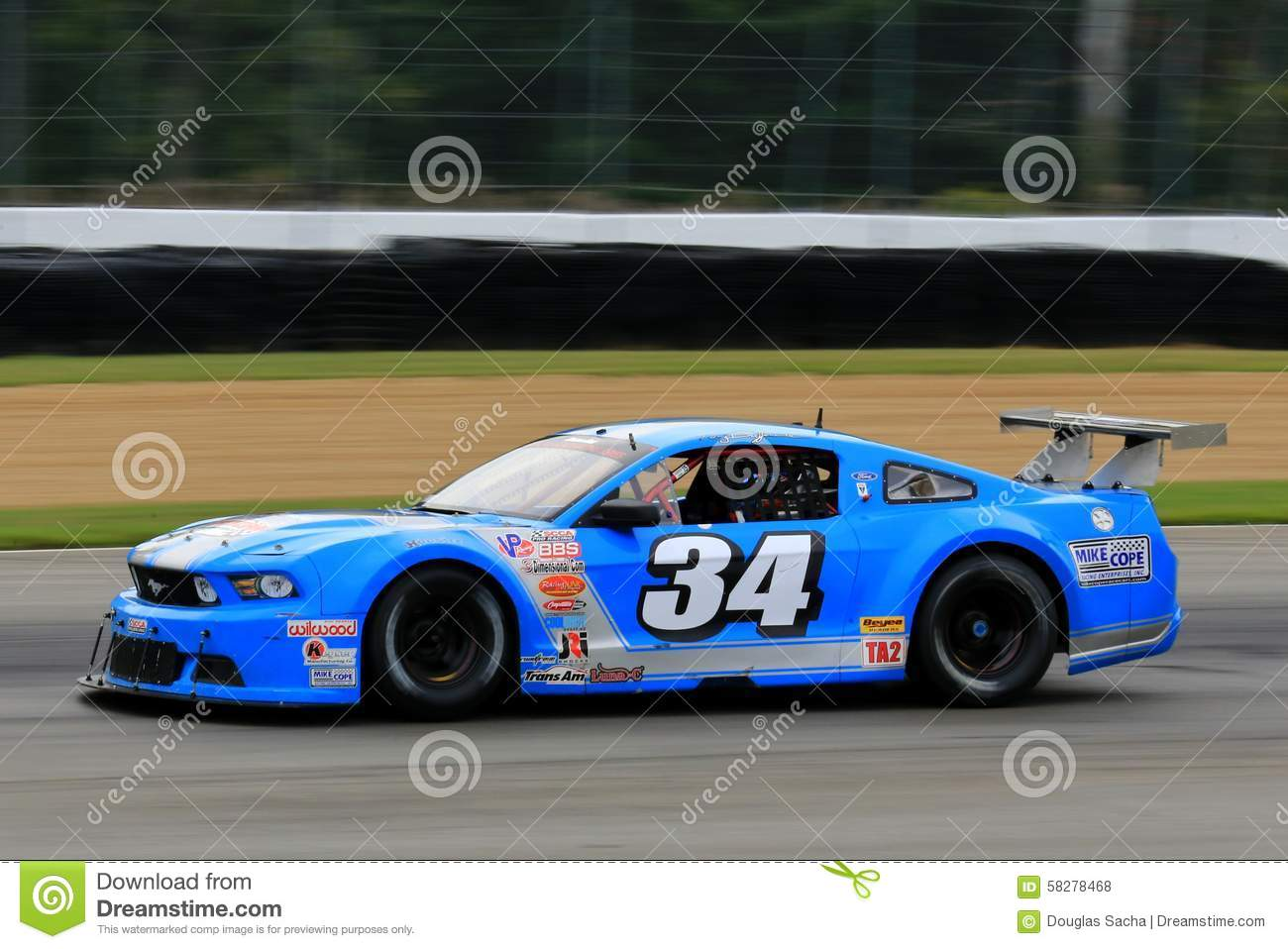 Pro Ford Mustang Race Car On The Course Editorial Stock