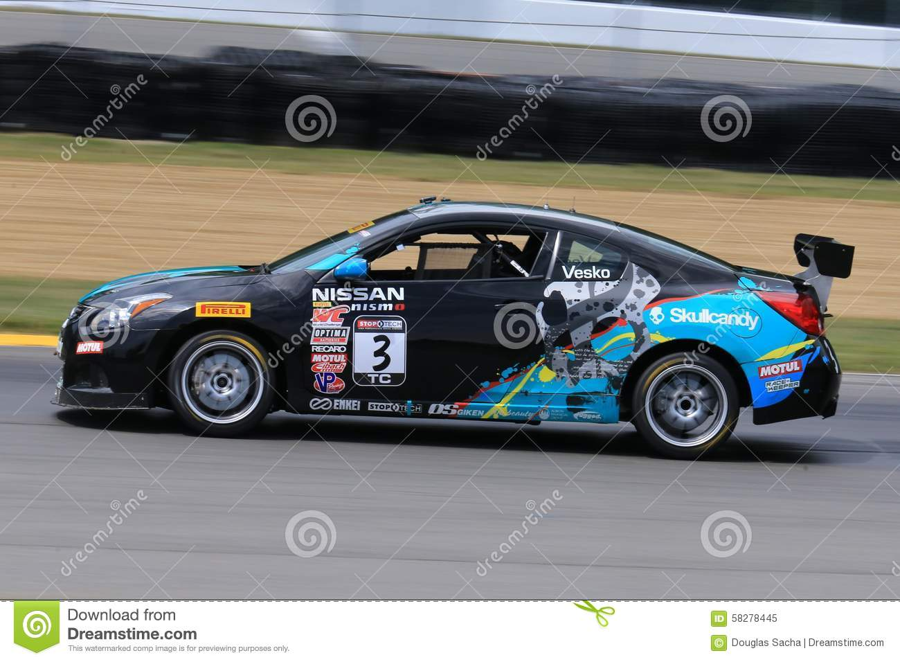pro nissan altima race car on the course editorial image image of