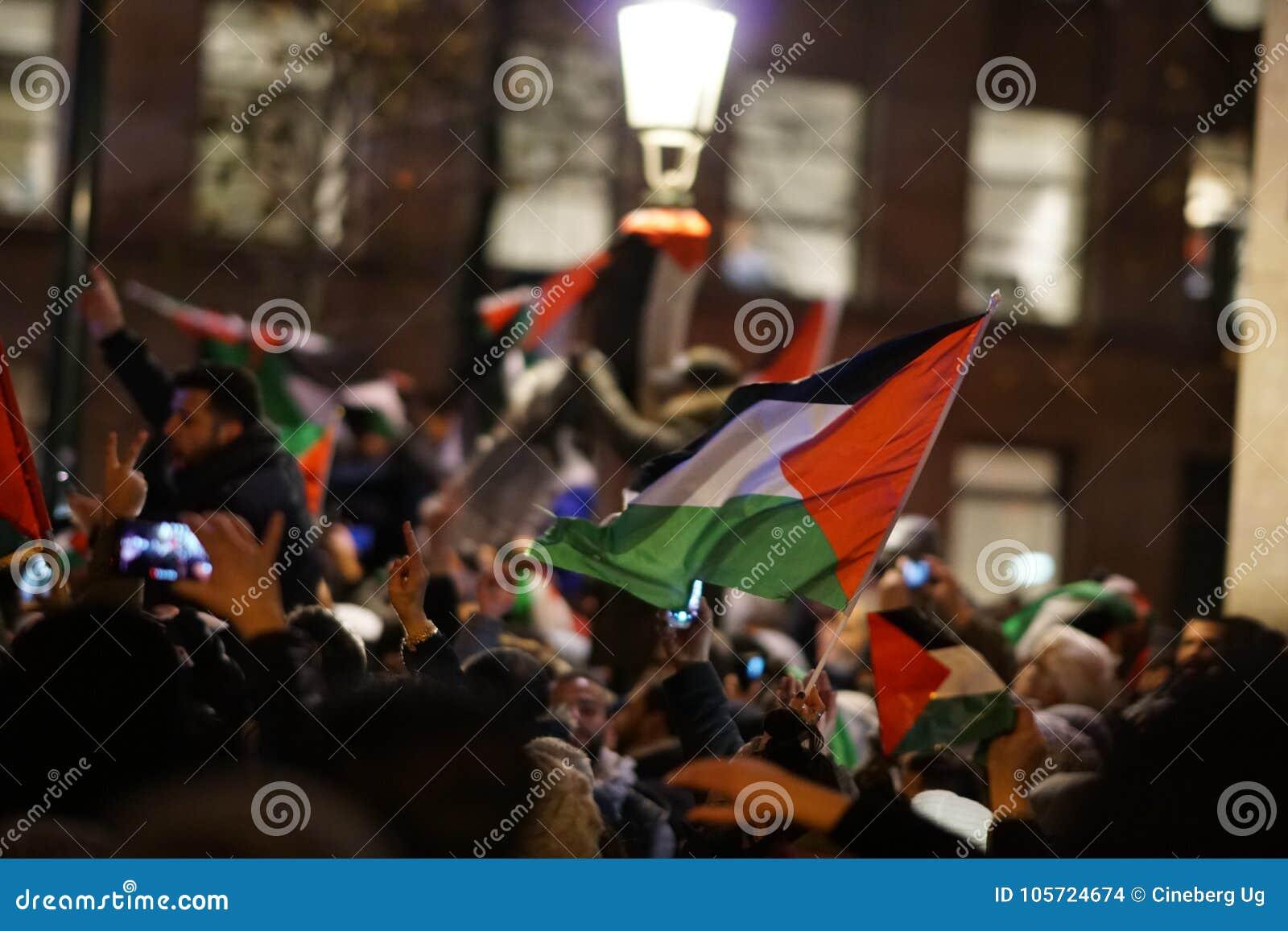 Pro-Palestijns protest na U S verklaring als het erkennen van de stad van Jeruzalem als de hoofdstad van Israël