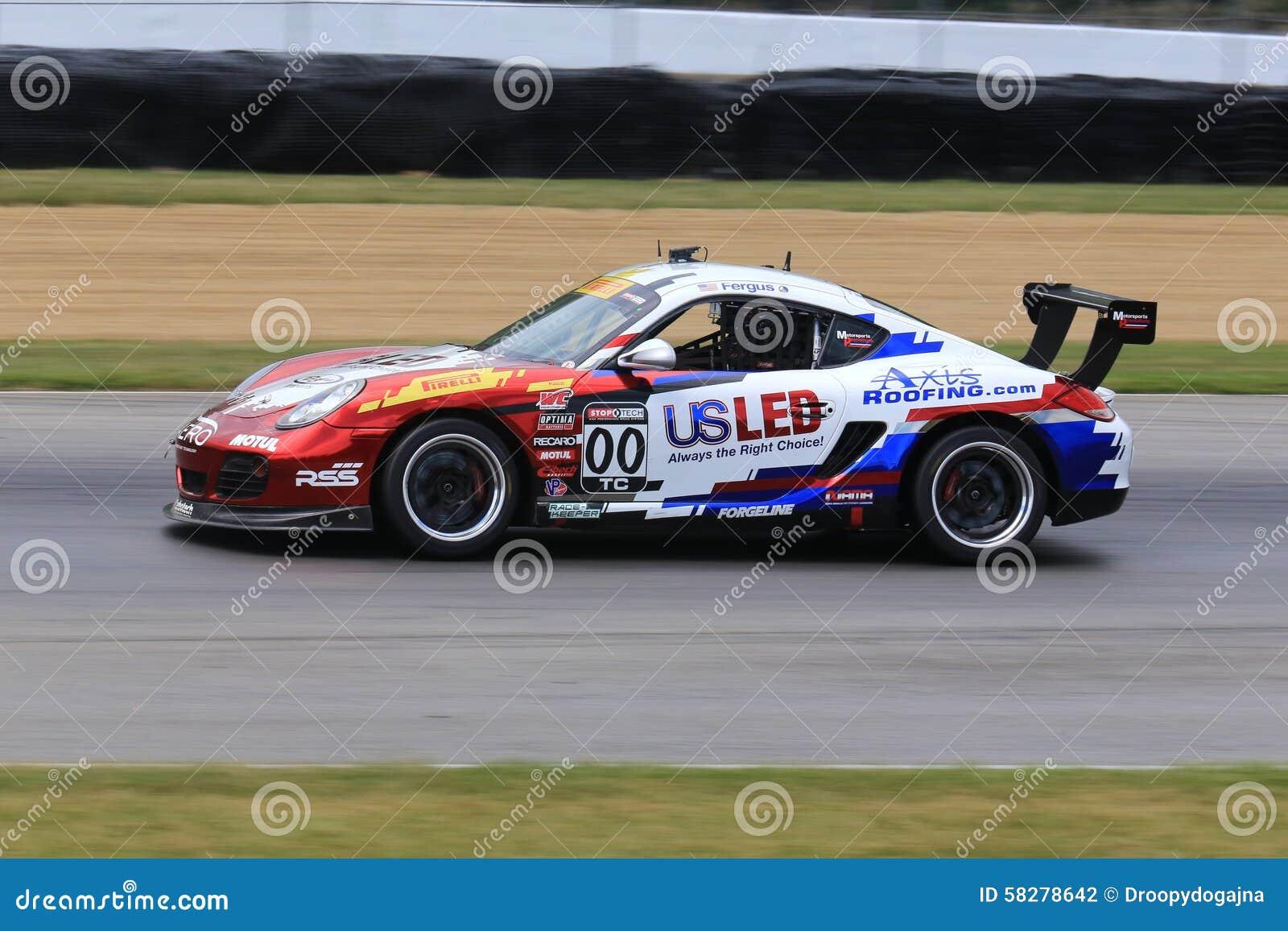 Pro Porsche Cayman Race Car On The Course Editorial