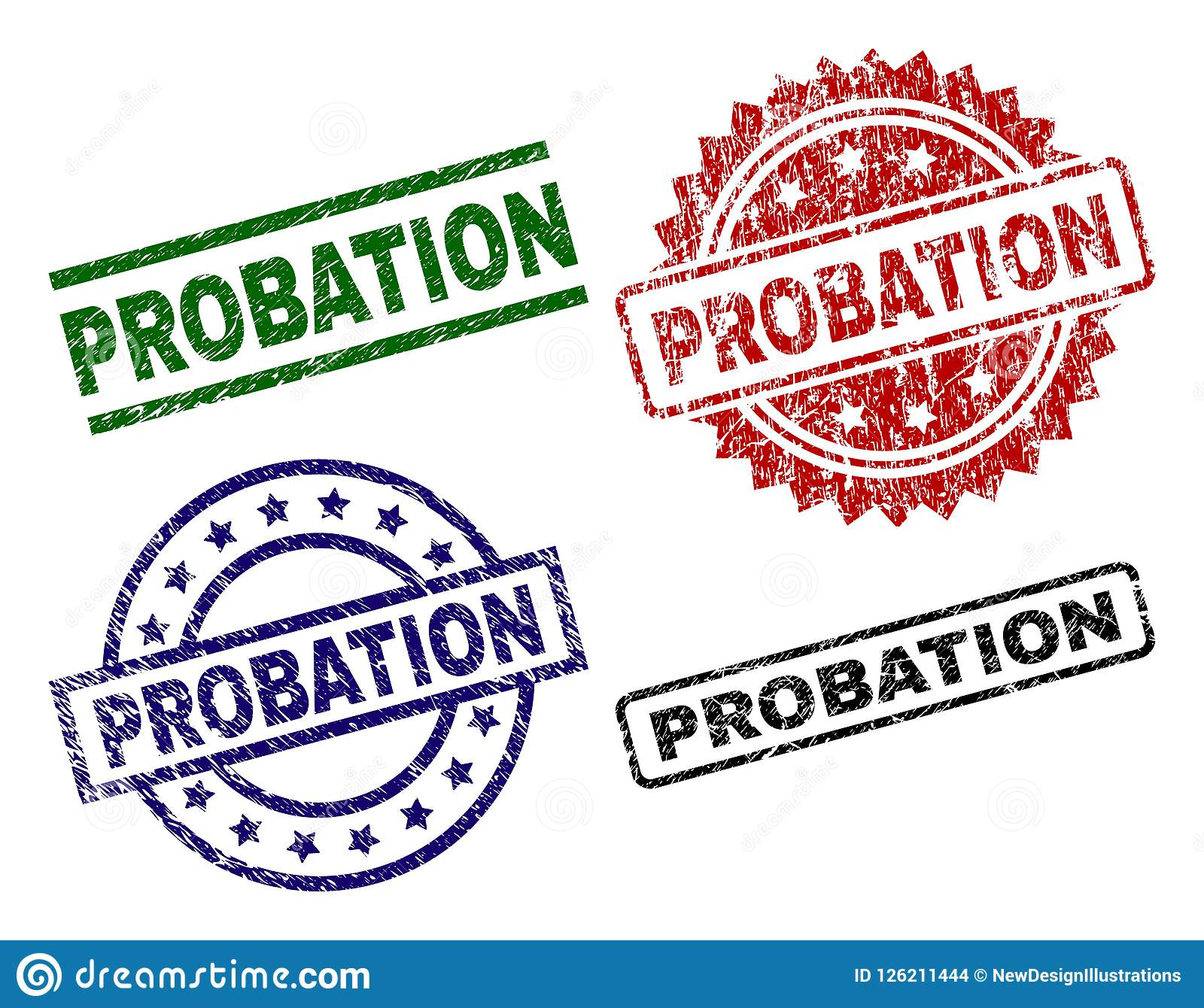 Scratched Textured PROBATION Seal Stamps Stock Vector