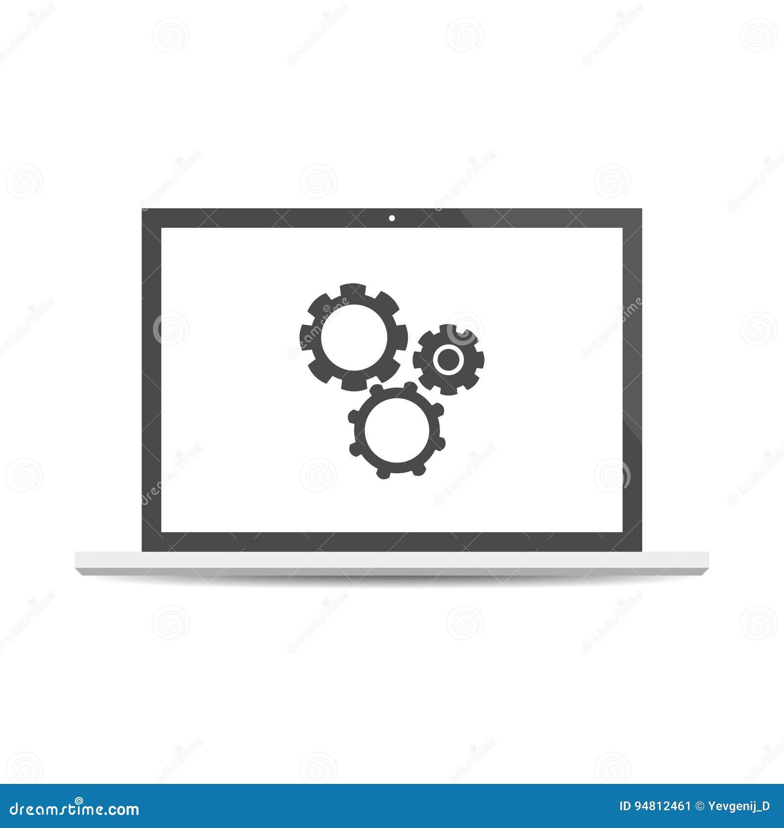 Probiercza system ikona Czynnościowy testowanie oprogramowanie Laptop z cogwheels odizolowywającymi na tle