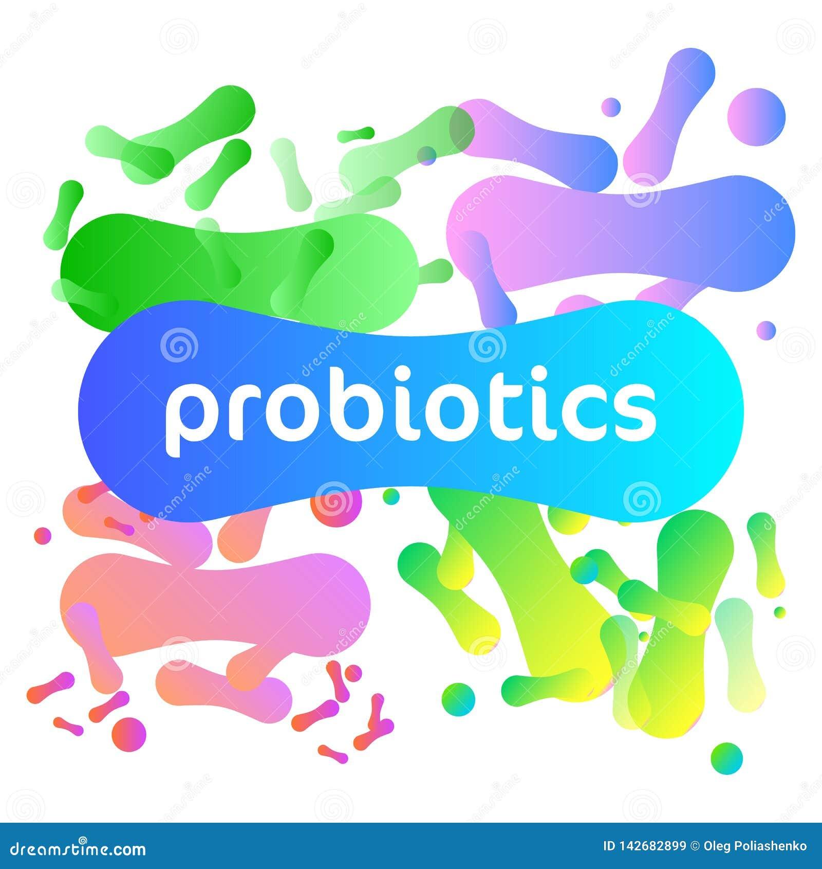 Probiotics-Bakterien-Vektor-Logo
