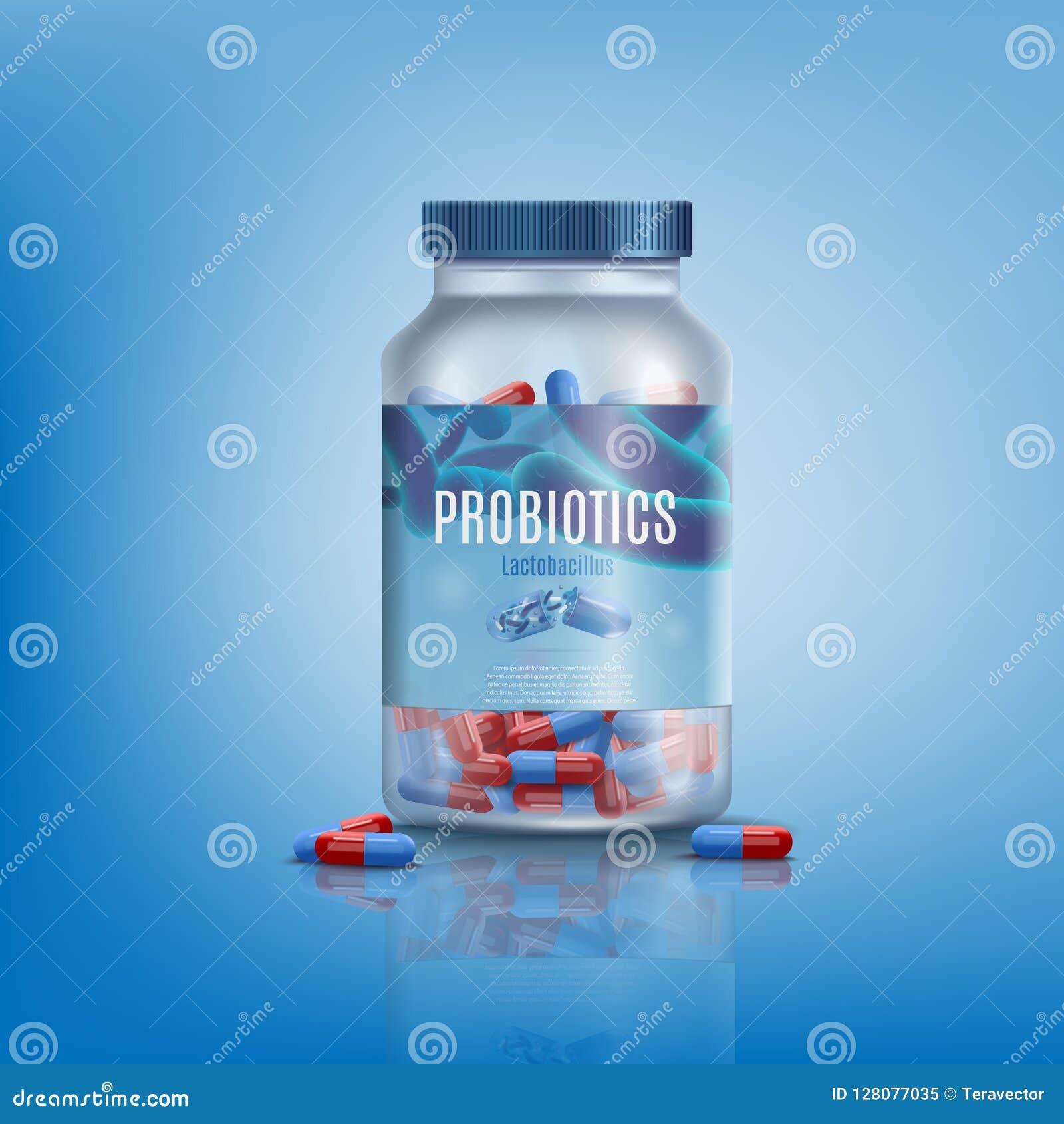 Probiotics preventivpillerar i realistisk vektor för Glass krus